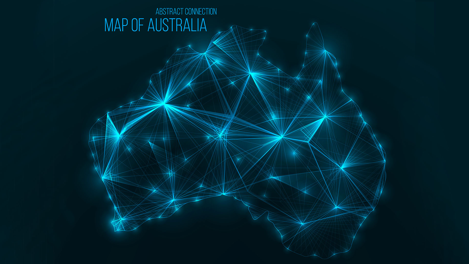 Digital web map of Australia . Global network connection with glowing triangular elements . Abstract country wireframe . Technology vector illustration . Australia geographical shape