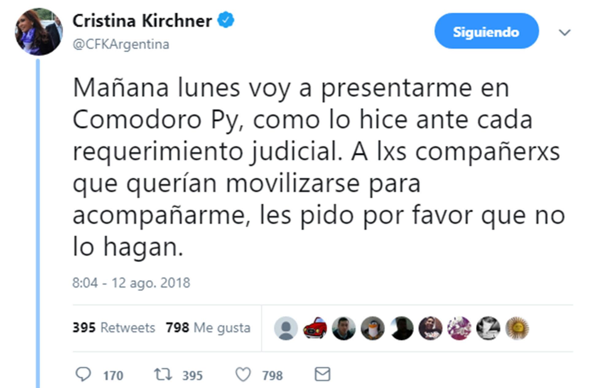 Cristina utilizó su cuenta de Twitter para pedir a la militancia que no se movilice a Comodoro Py (@CFKArgentina)