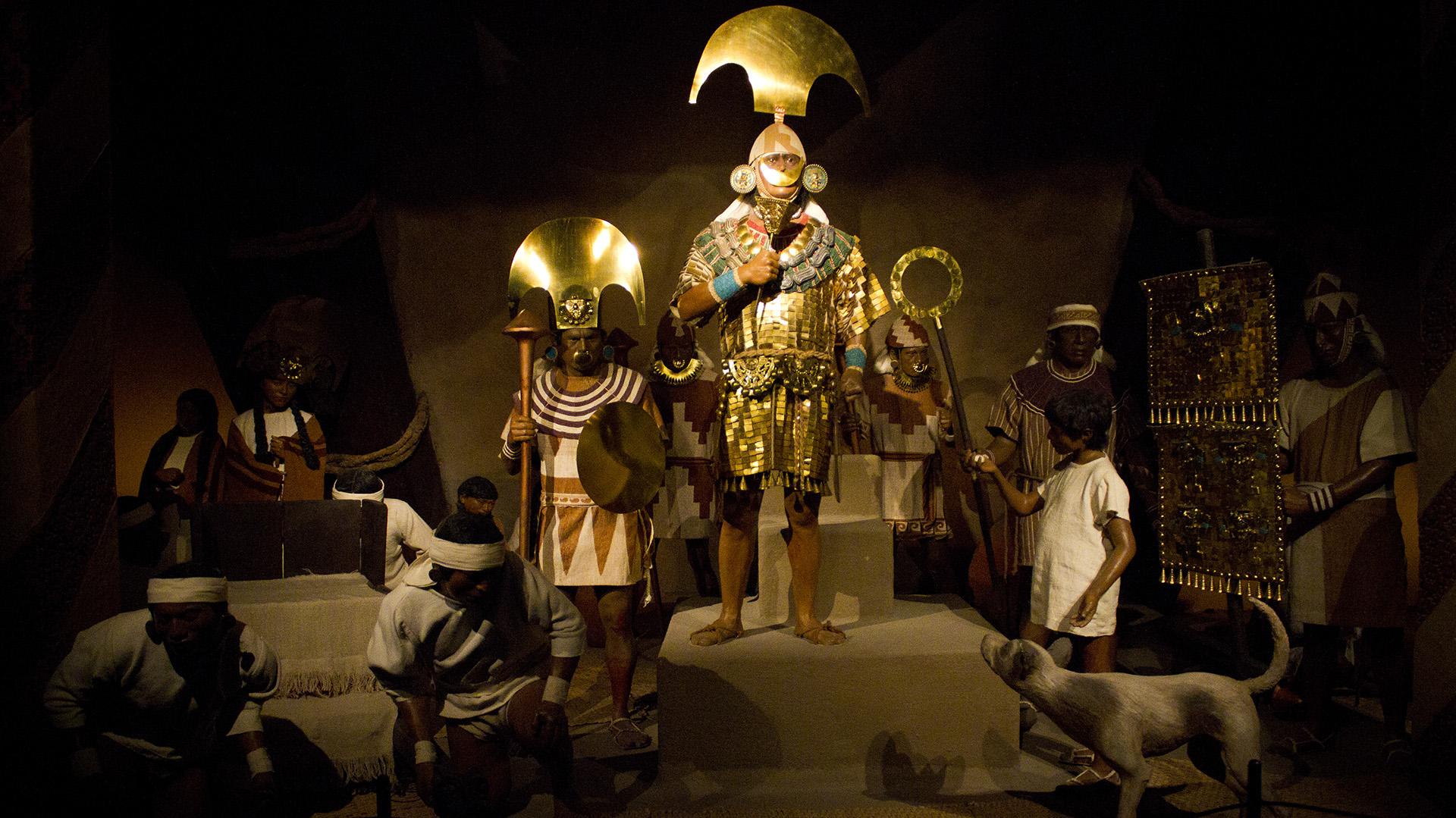 Representación del Señor de Sipán y su séquito, en el Museo Tumbas Reales de Sipán