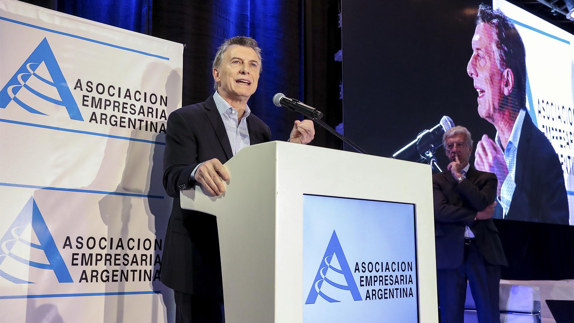 Mauricio Macri, en el discurso que dio apertura a la jornada (Presidencia de la Nación)