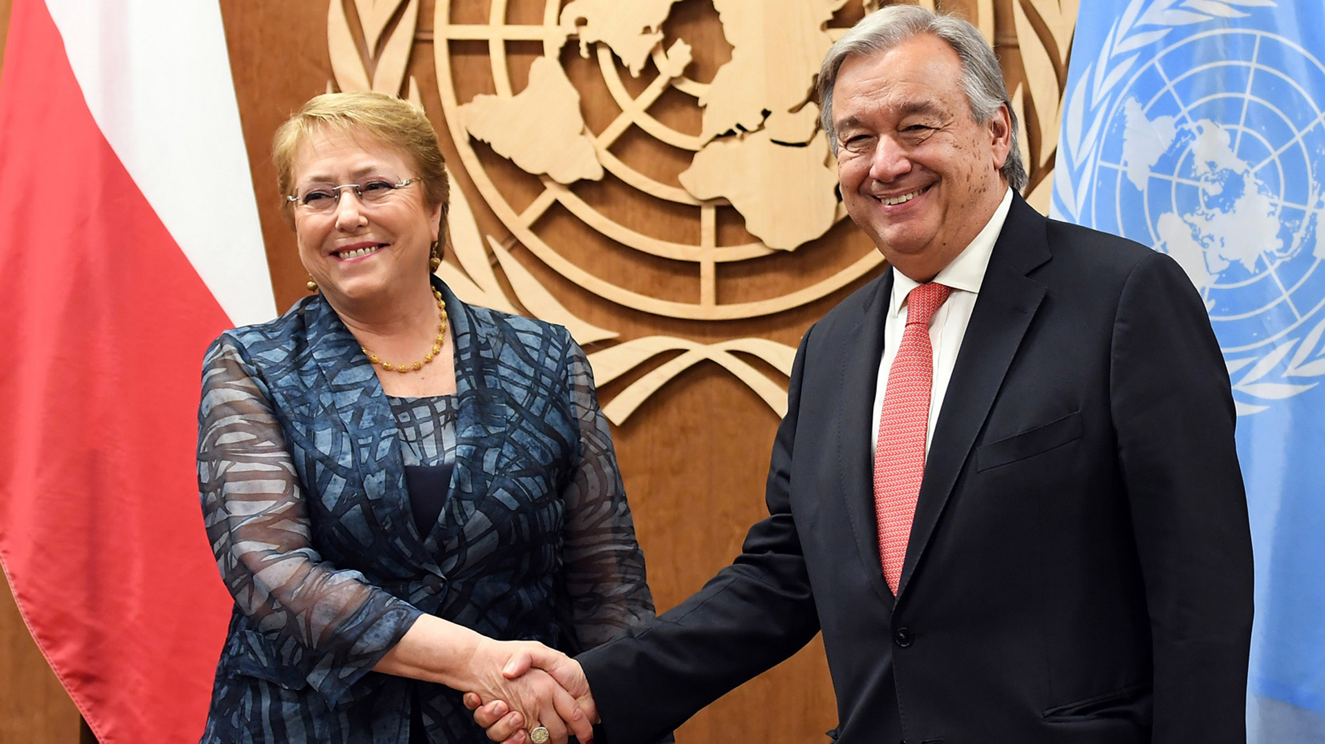 Michelle Bachelet and Antonio Guterres at the UN