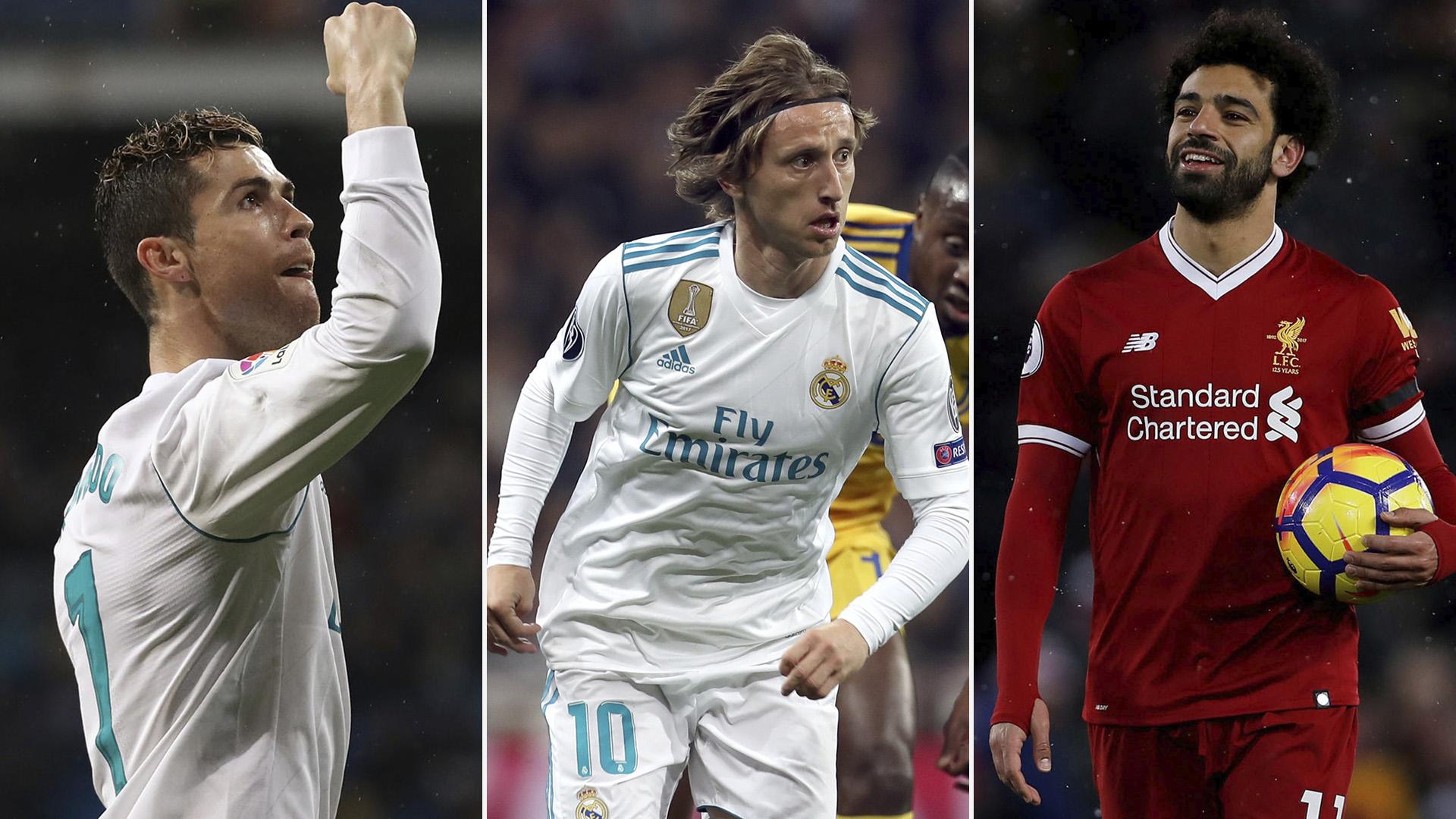 Cristiano Ronaldo, Luka Modric y Mohamed Salah fueron los nominados