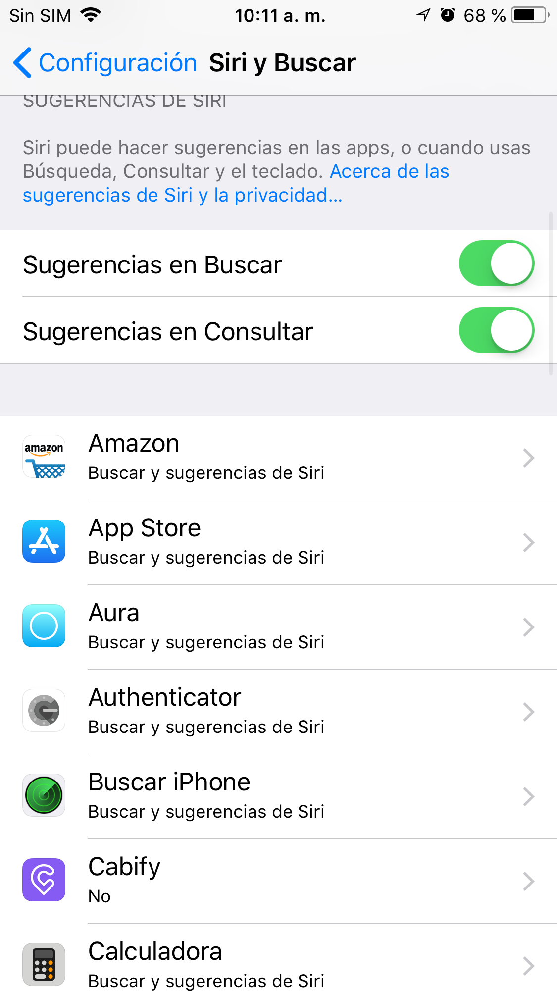 Para ocultar una app de las búsquedas internas hay que ir hasta Configuración/Siri Buscar y elegir la app que se quiereocultar.