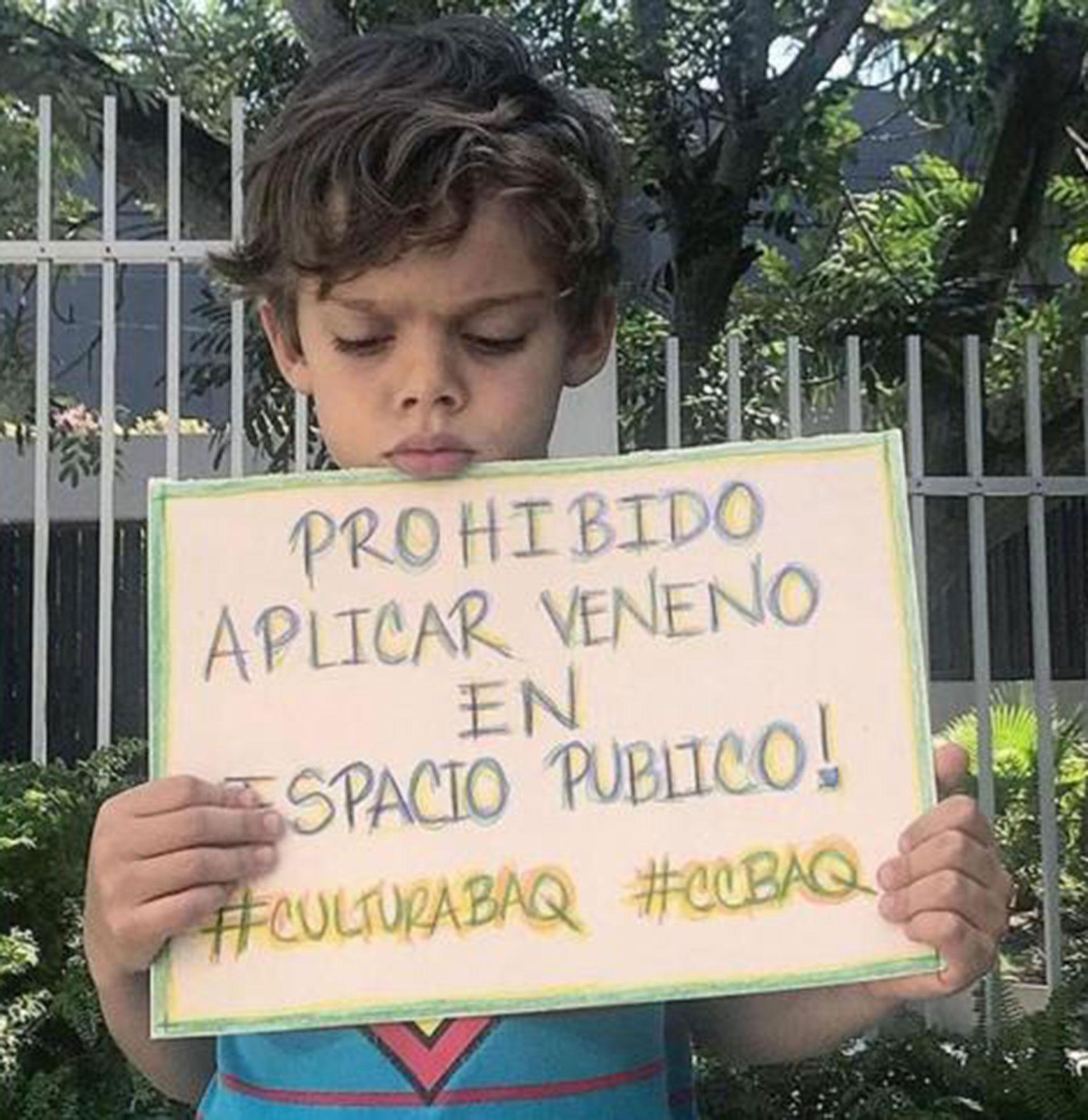 Sebastián Dangond Araújo, de 5 años, protesta por la pérdida de su mascota Coco por envenenamiento.