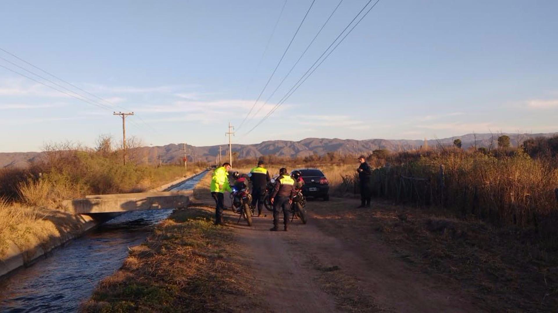 El lugar donde fue hallado el cuerpo de la mujer (foto Policía de San Luis)