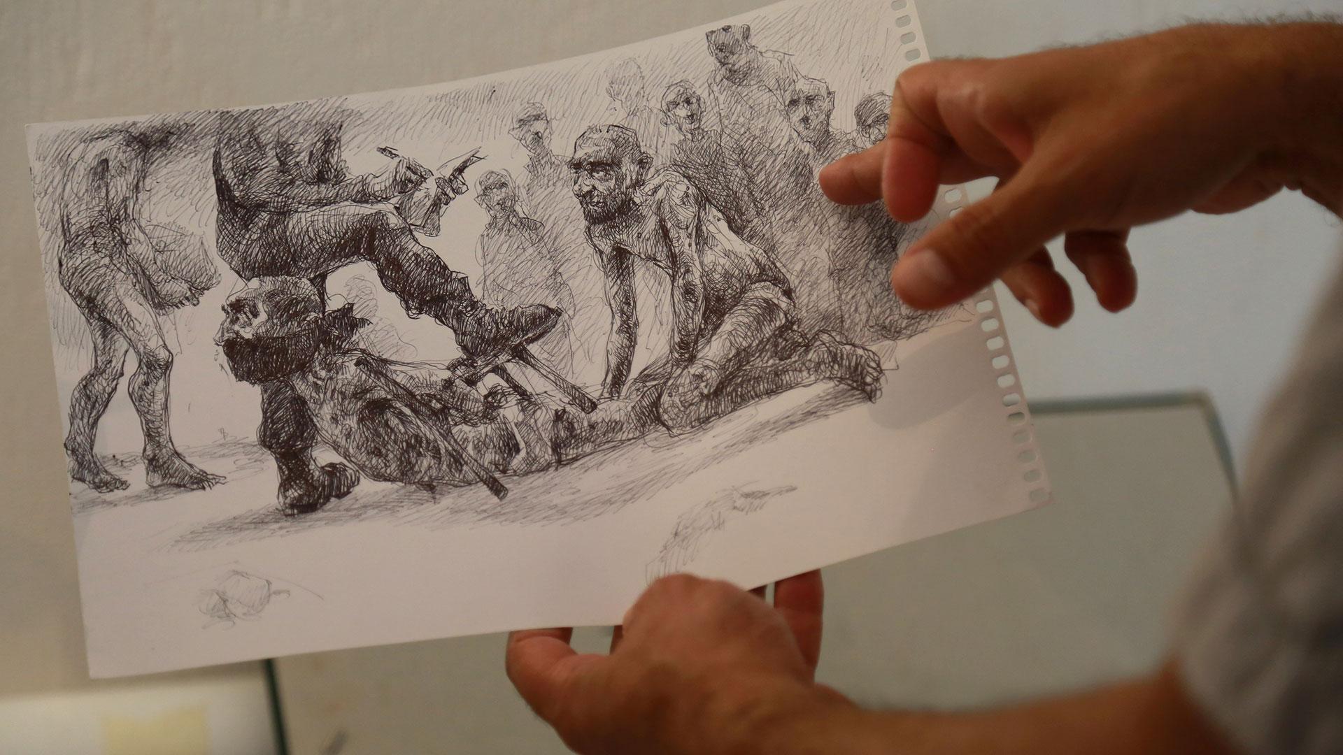 """""""Esto es en las mañana, cuando transportábamos los cadáveres"""", cuenta, mostrando otro dibujo. """"A menudo el olor de los prisioneros muertos desde hace dos días era nauseabundo. Algunos tenían rastros de tortura y la mayoría estaban esqueléticos"""""""