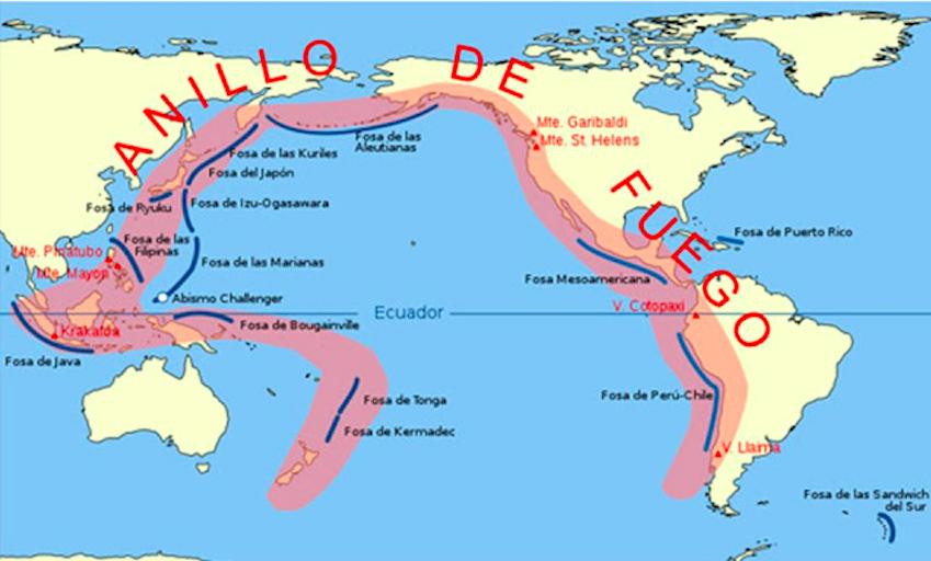 El Anillo de Fuego se extiende por 40.000 kilómetros a lo largo de Oceanía, Asia, América del Norte, Central y del Sur.