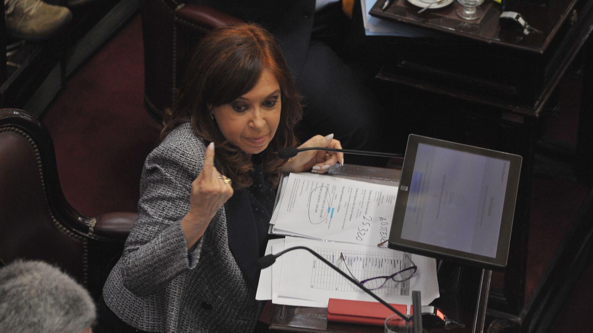 La senadora y ex presidenta Cristina Kirchner durante la sesión en la que se discutió la autorización para los allanamientos en sus propiedades (Foto: Patricio Murphy)