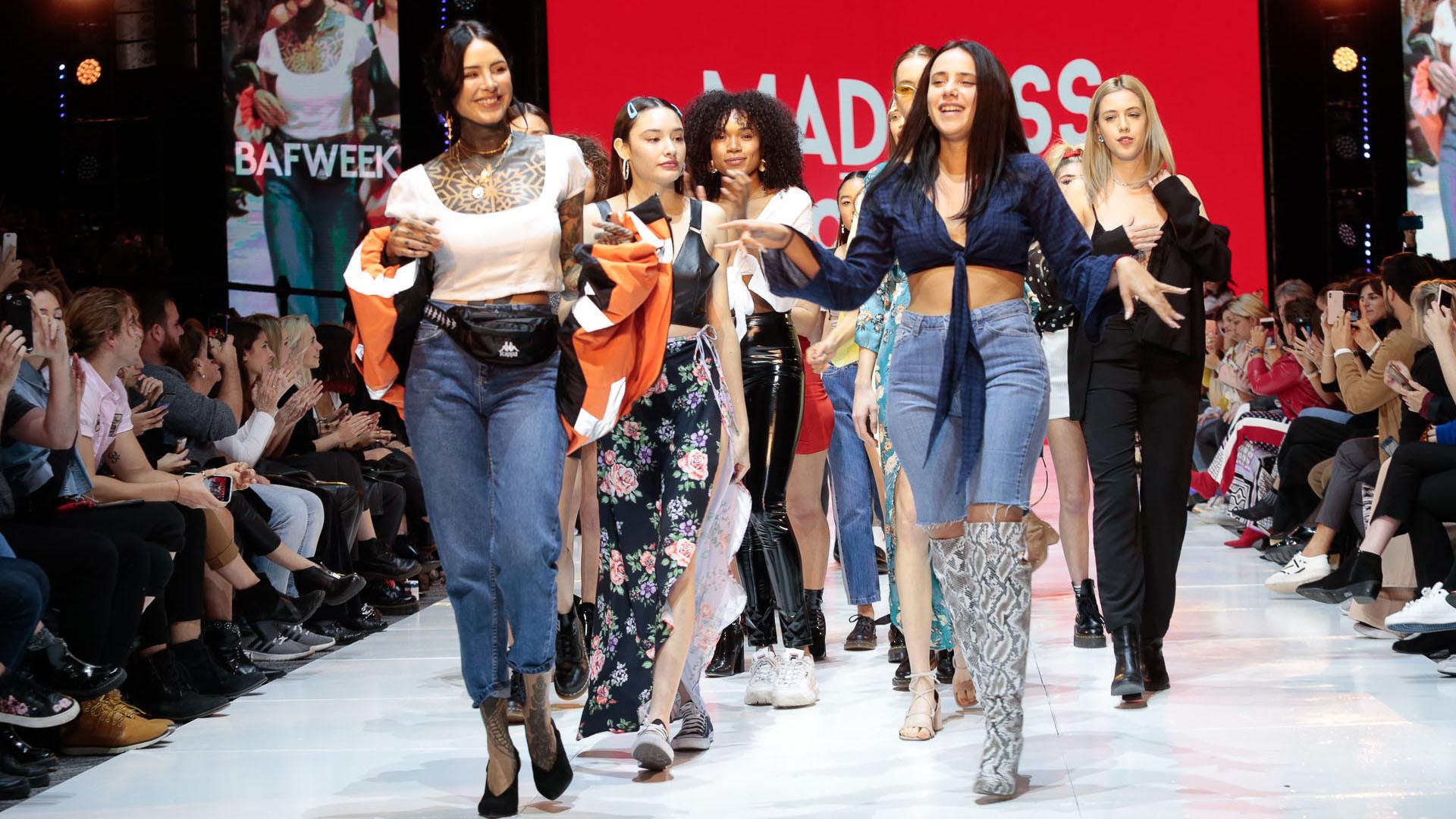 Candelaria Tinelli y su socia Tatiana Saal en la presentación de la nueva colección de â??Madness Clothingâ?, que se llevó a cabo en el marco del BAFWEEK