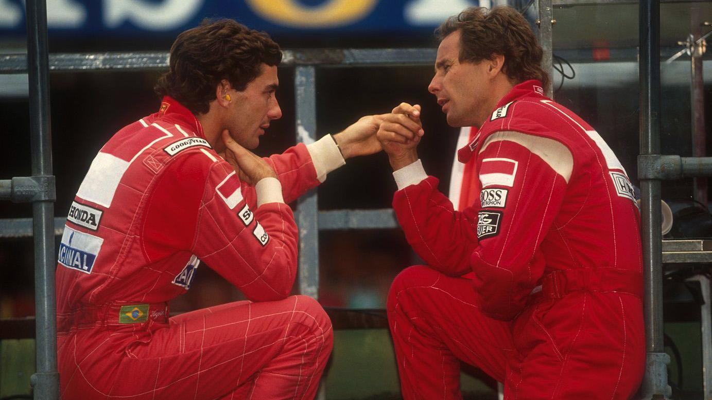 Ayrton Senna junto a Gerhard Berger, su compañero de equipo en McLaren durante varias temporadas