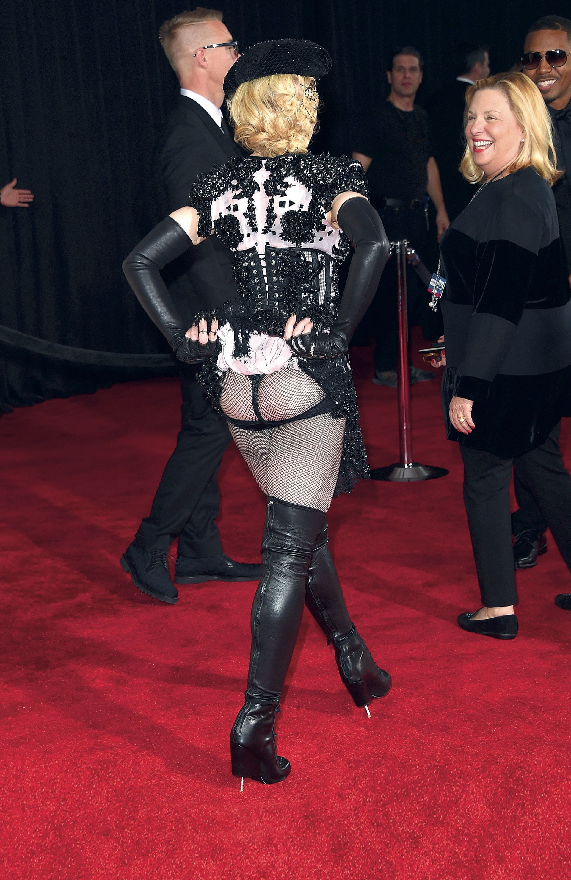 LOS ANGELES, CA – FEBRUARY 08: Singer Madonna attends The 57th Annual GRAMMY Awards at the STAPLES Center on February 8, 2015 in Los Angeles, California. Jason Merritt/Getty Images/AFP
