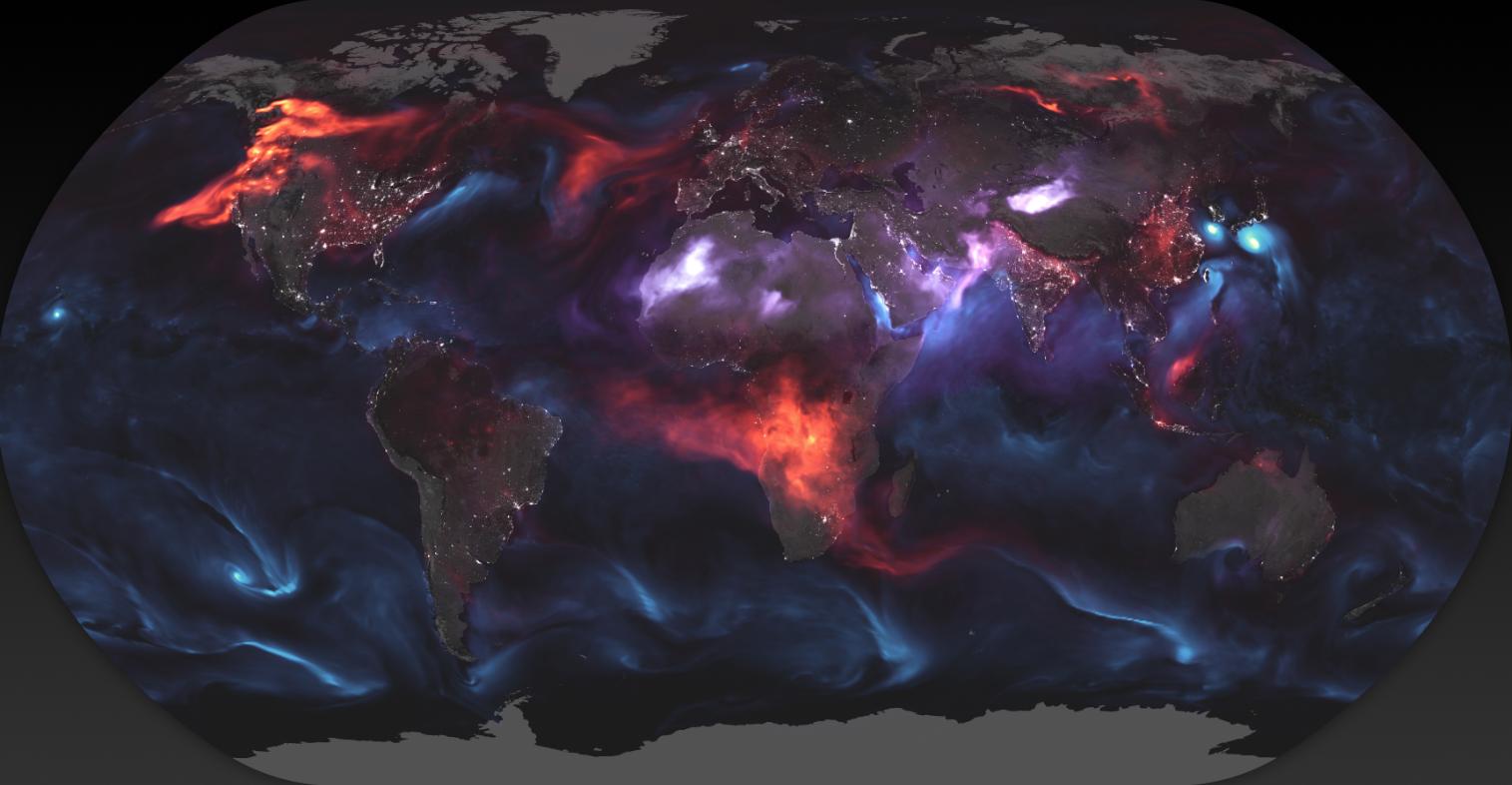 El mapa de los aerosoles del planeta correspondientes al día 23 de agosto pasado (Foto: NASA)