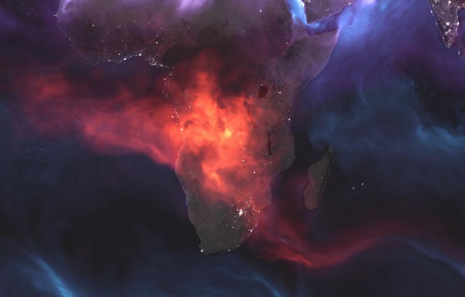 """La suma de los fuegos provocados por agricultores en el centro de Africa deja esta """"mancha"""" en el centro de Africa (Foto: NASA)"""