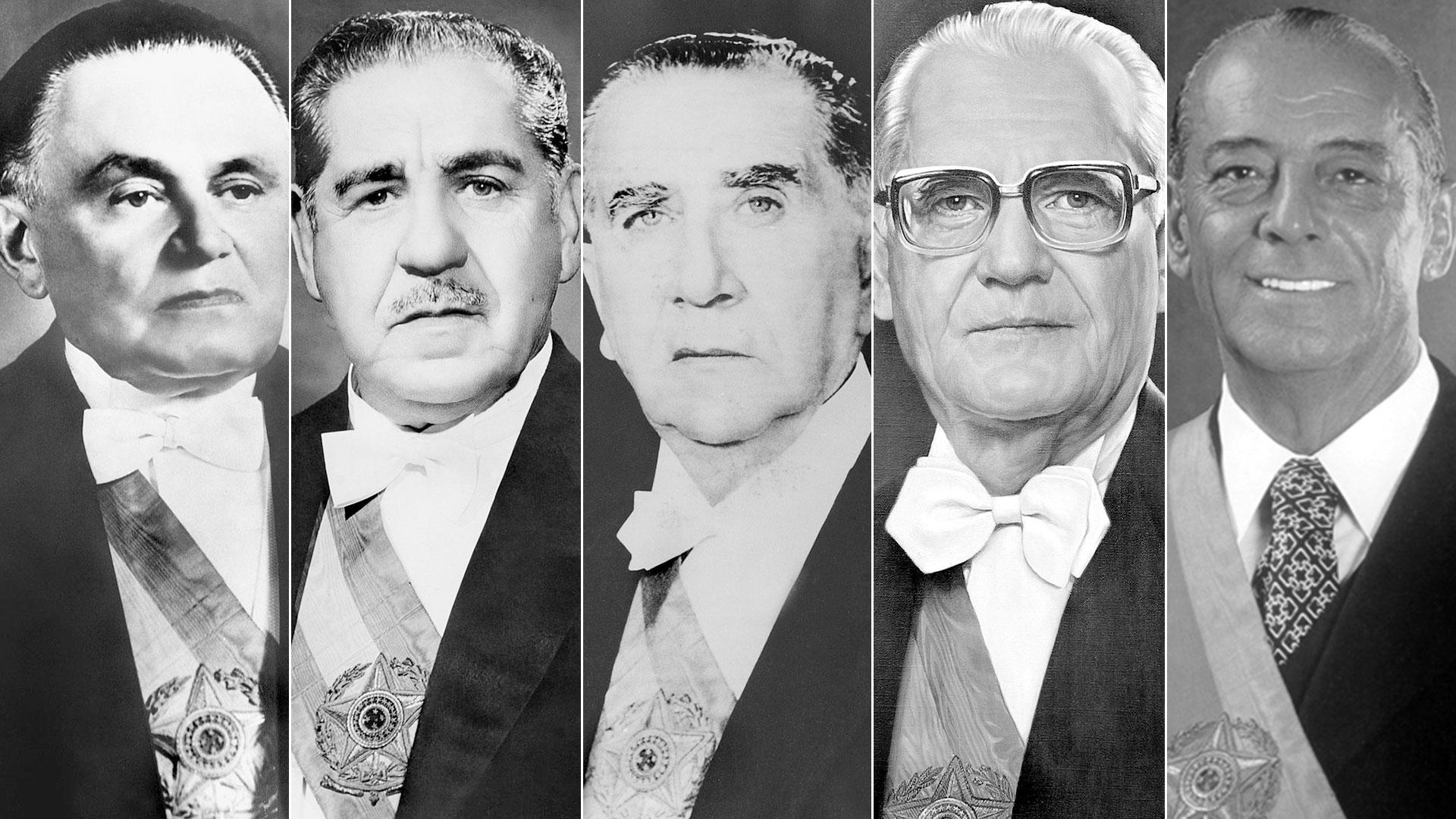 Los dictadores brasileños Humberto de Alencar Branco, Arthur Da Costa e Silva, Emilio Garrastazu Medici, Ernesto Geisel y Joao Figueiredo