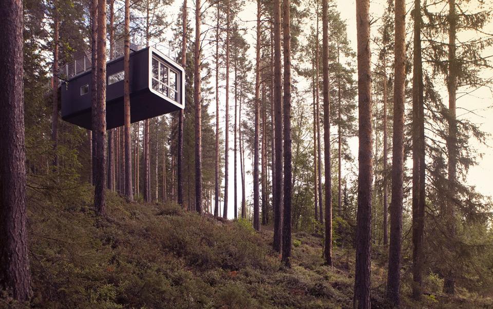 En el norte de Suecia, este complejo hotelero ofrece casas sofisticadas en los árboles. (Treehotel)