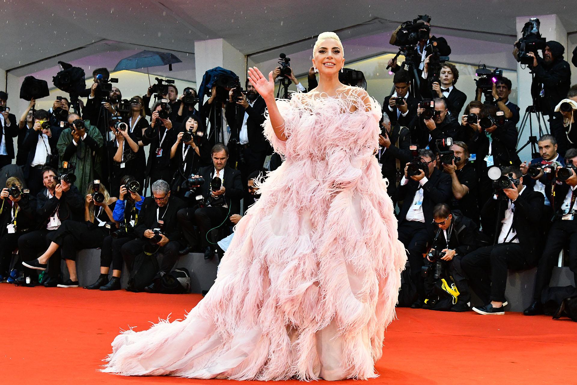 """La gran artista eclipsó a todas las celebridades con este súper vestido rosa con plumas, falda armada y cola diseñado por Valentino bajo el nombre """"Flamingo"""""""