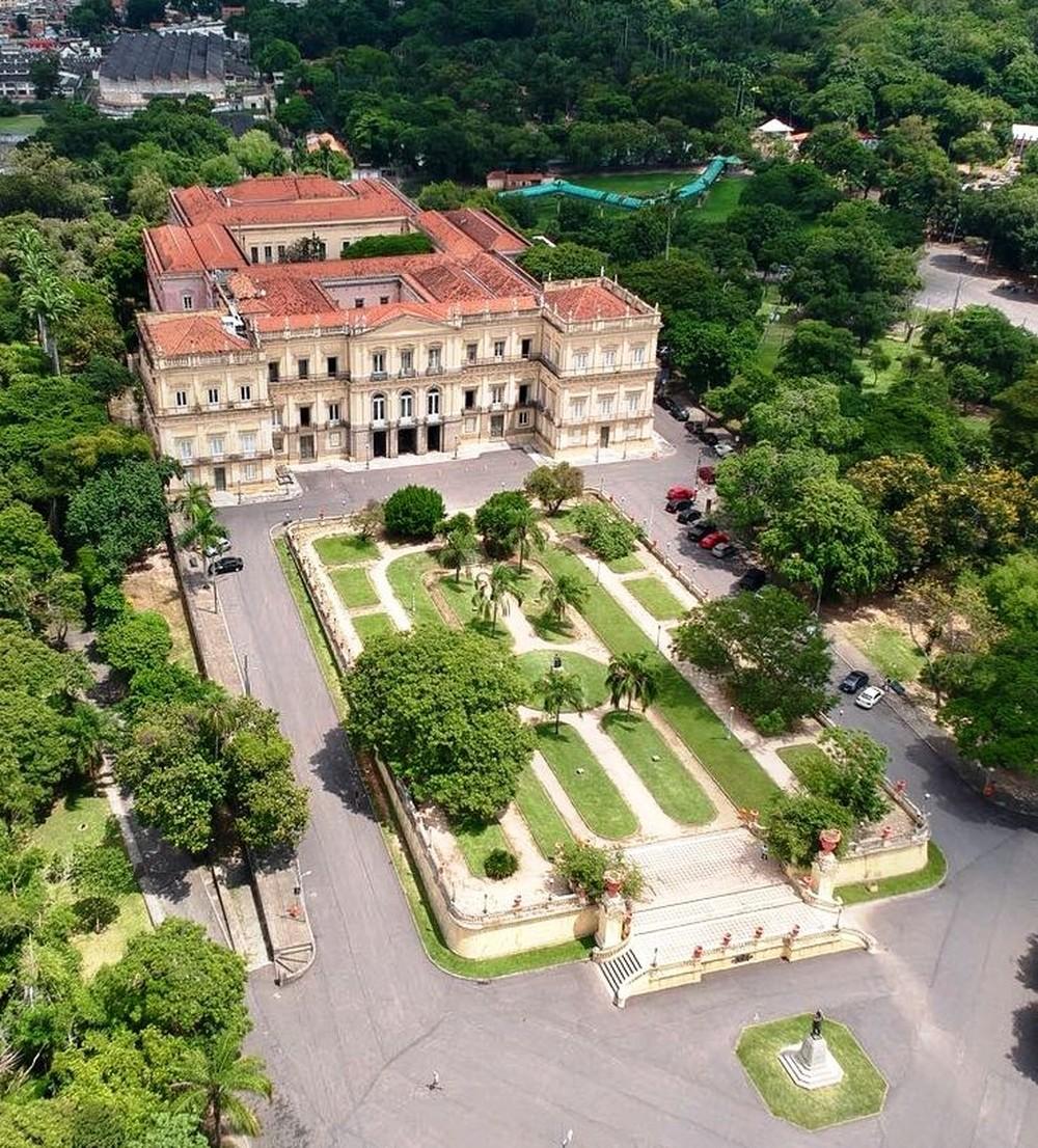 Vista aérea del museo antes del incendio (Museo Nacional Rio de Janeiro)