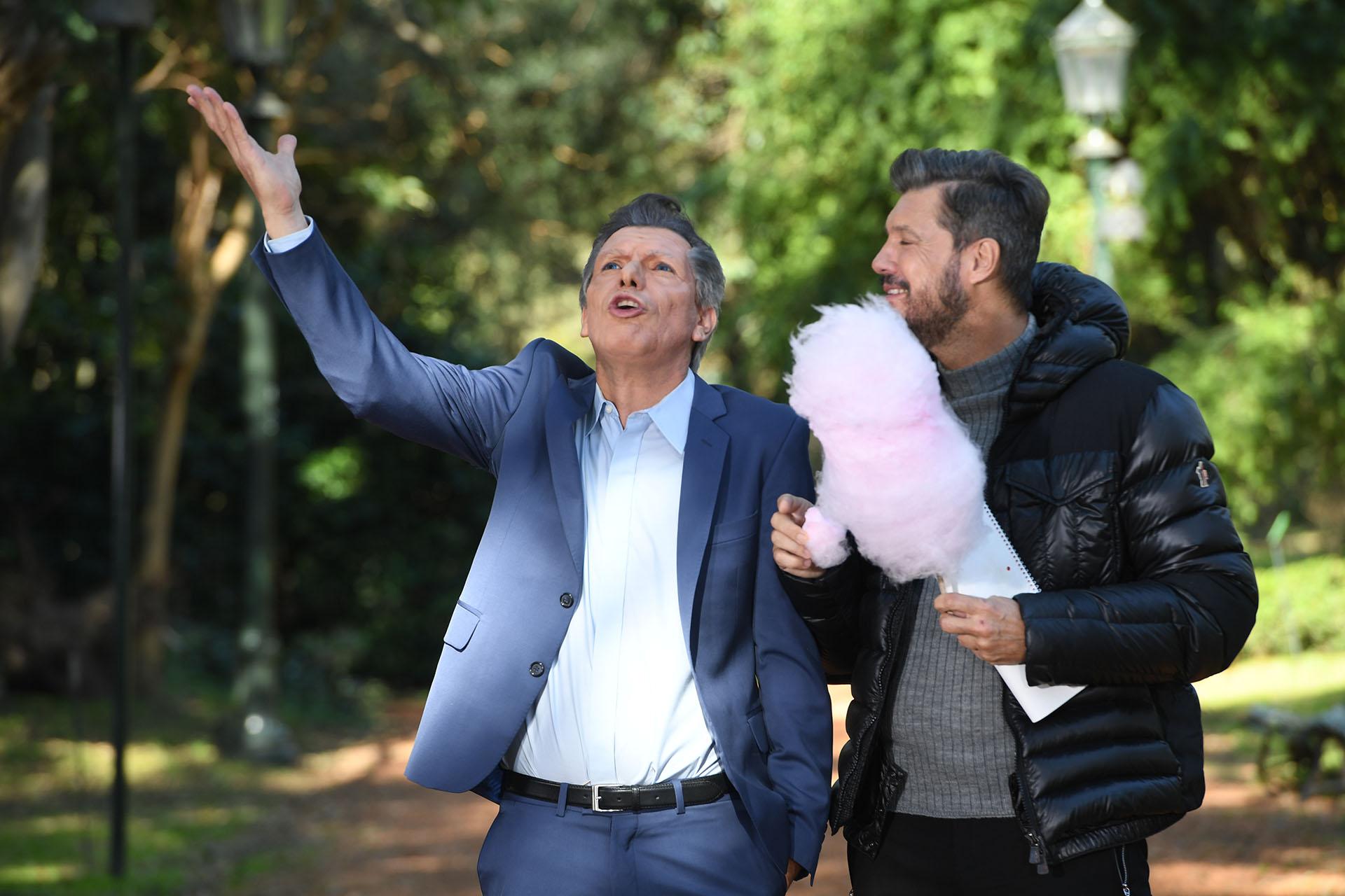 Marcelo Tinelli con Mauricio Macri, imitado por Martín Bossi