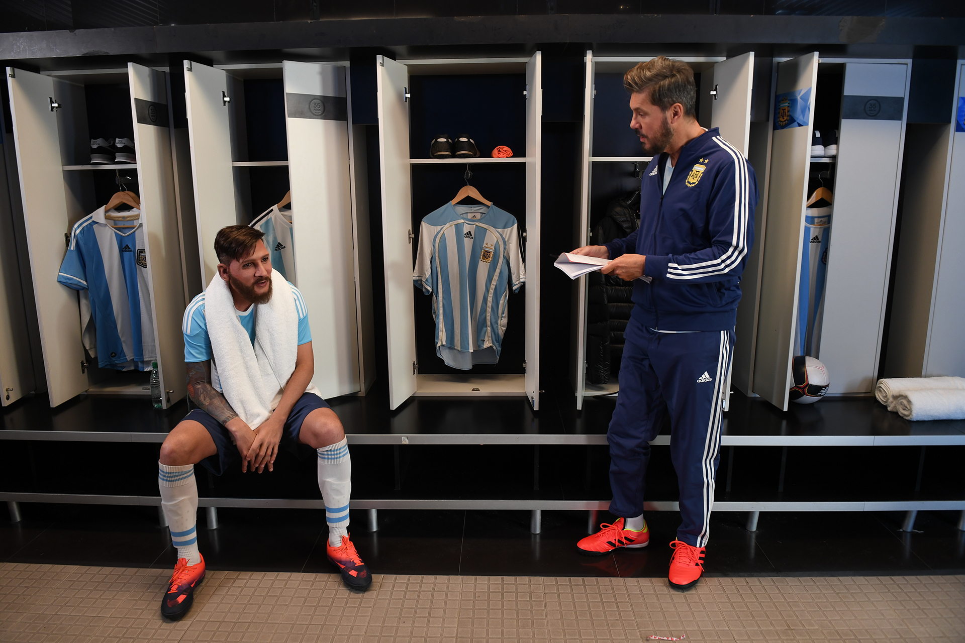 Marcelo Tinelli con Lionel Messi, imitado por Martín Bossi
