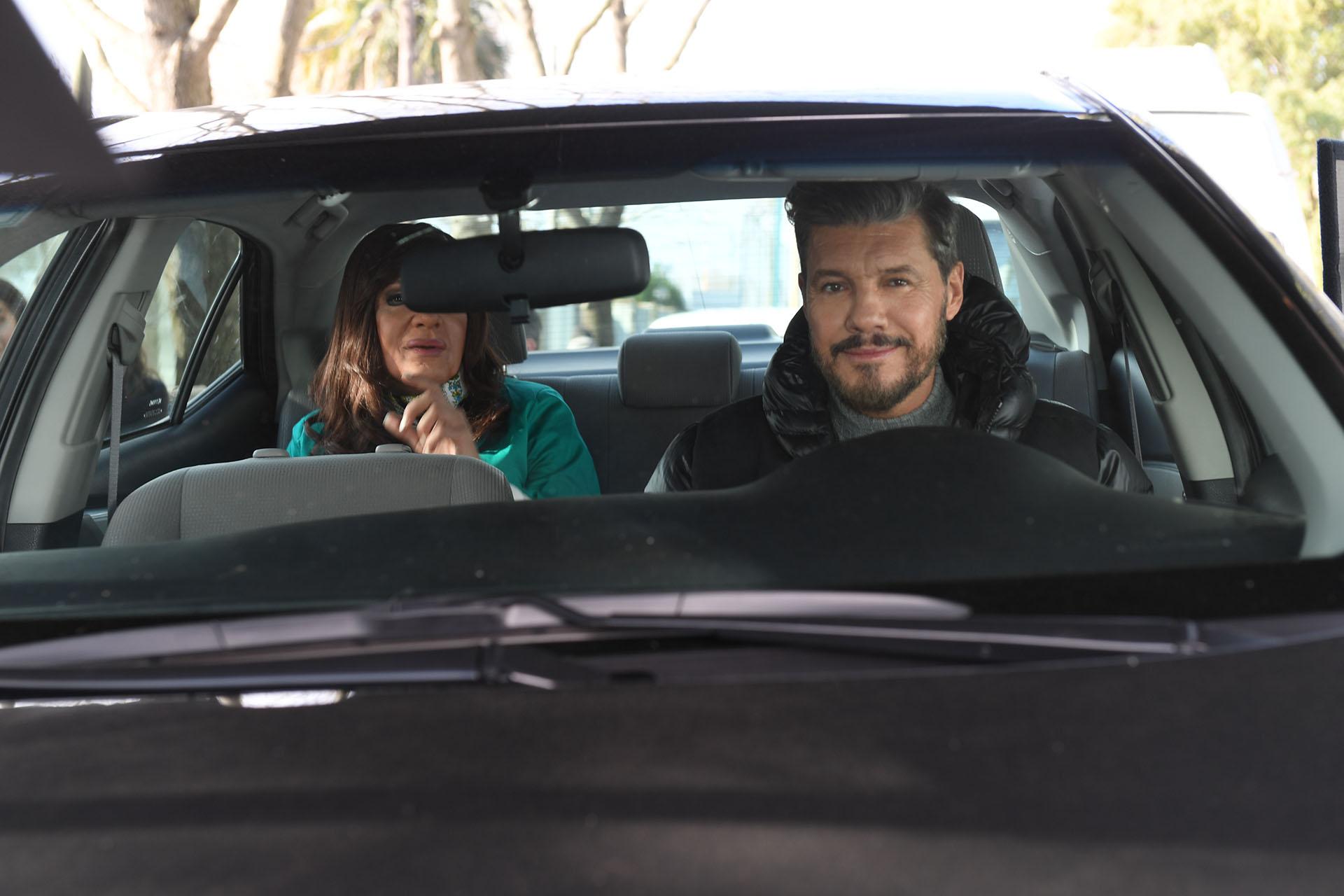 Marcelo Tinelli con Cristina Kirchner, imitada por Martín Bossi