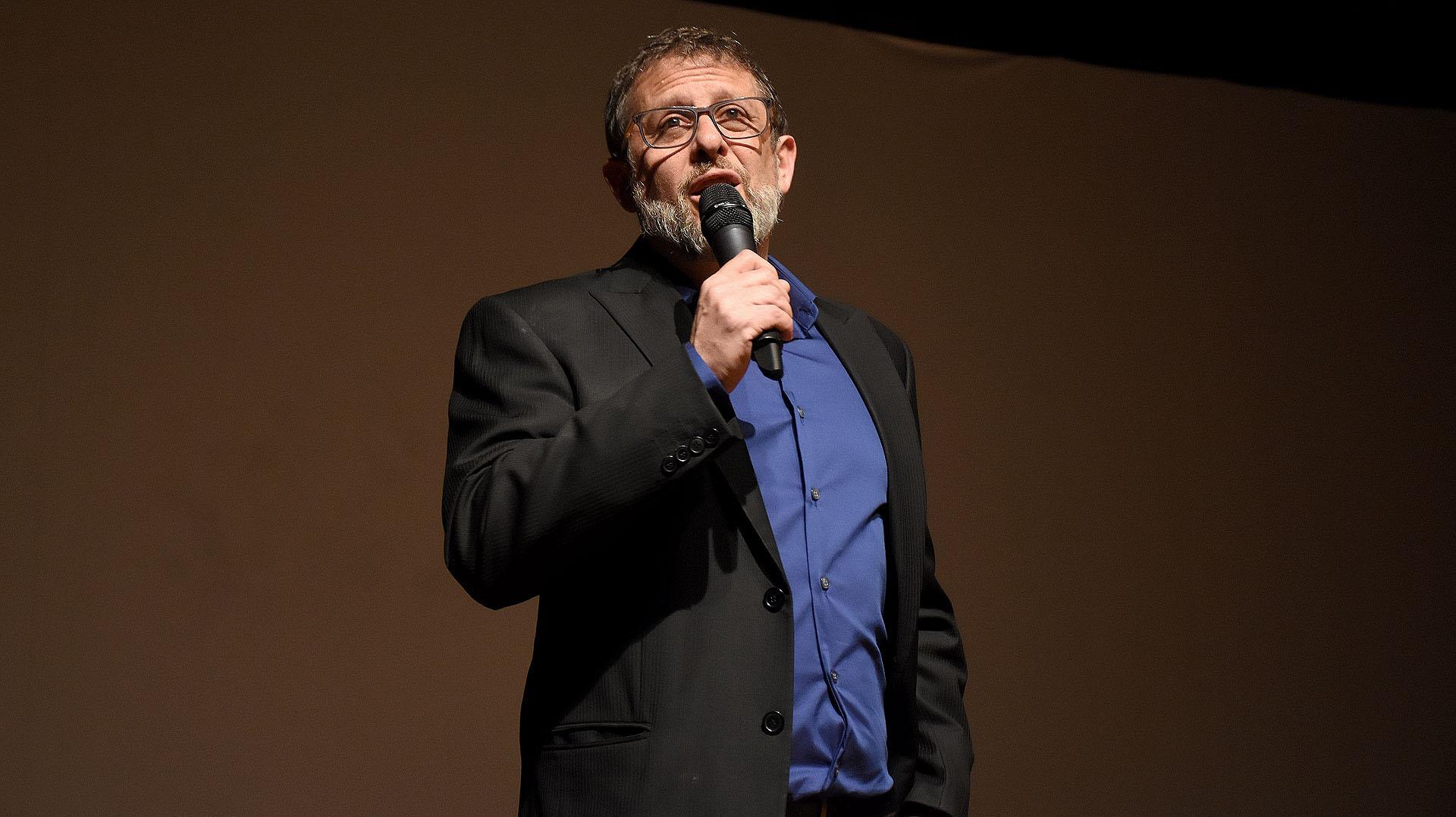 Marcos Gorbán (idea original y dirección de #Marcha) durante la presentación en el CCK de la serie documental de tres capítulos, que podrán verse en la pantalla de la TV Pública el 8, 15 y 22 de septiembre