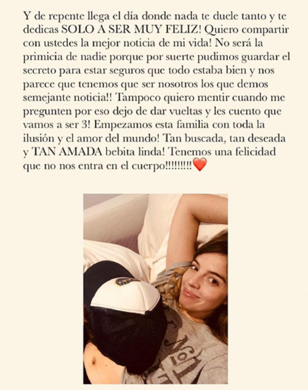 """Dalma Maradona anunció que está embarazada en Instagram. """"Empezamos esta familia con toda la ilusión y el amor del mundo. ¡Tan buscada, tan deseada y tan amada, bebita linda!"""", escribió la actriz"""