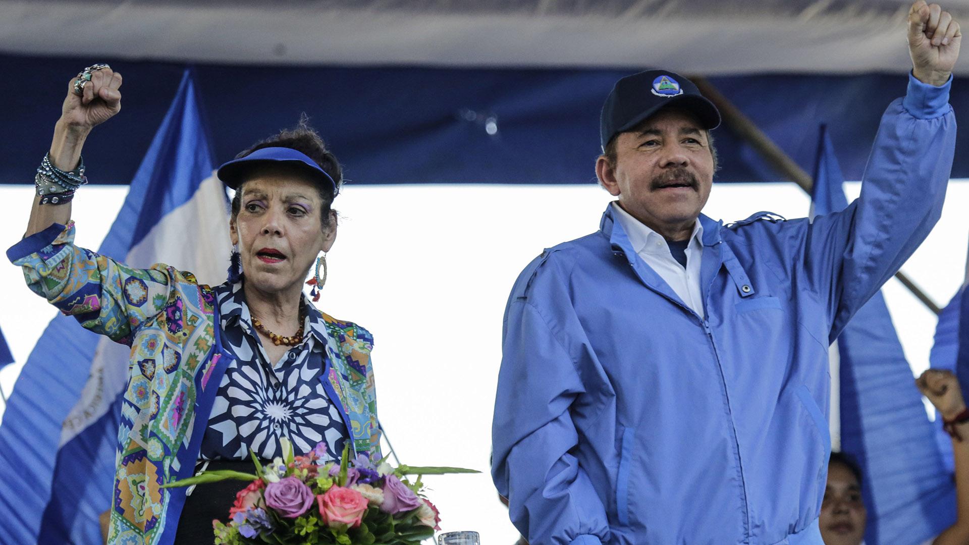 Rosario Murillo y Daniel Ortega (AFP)s