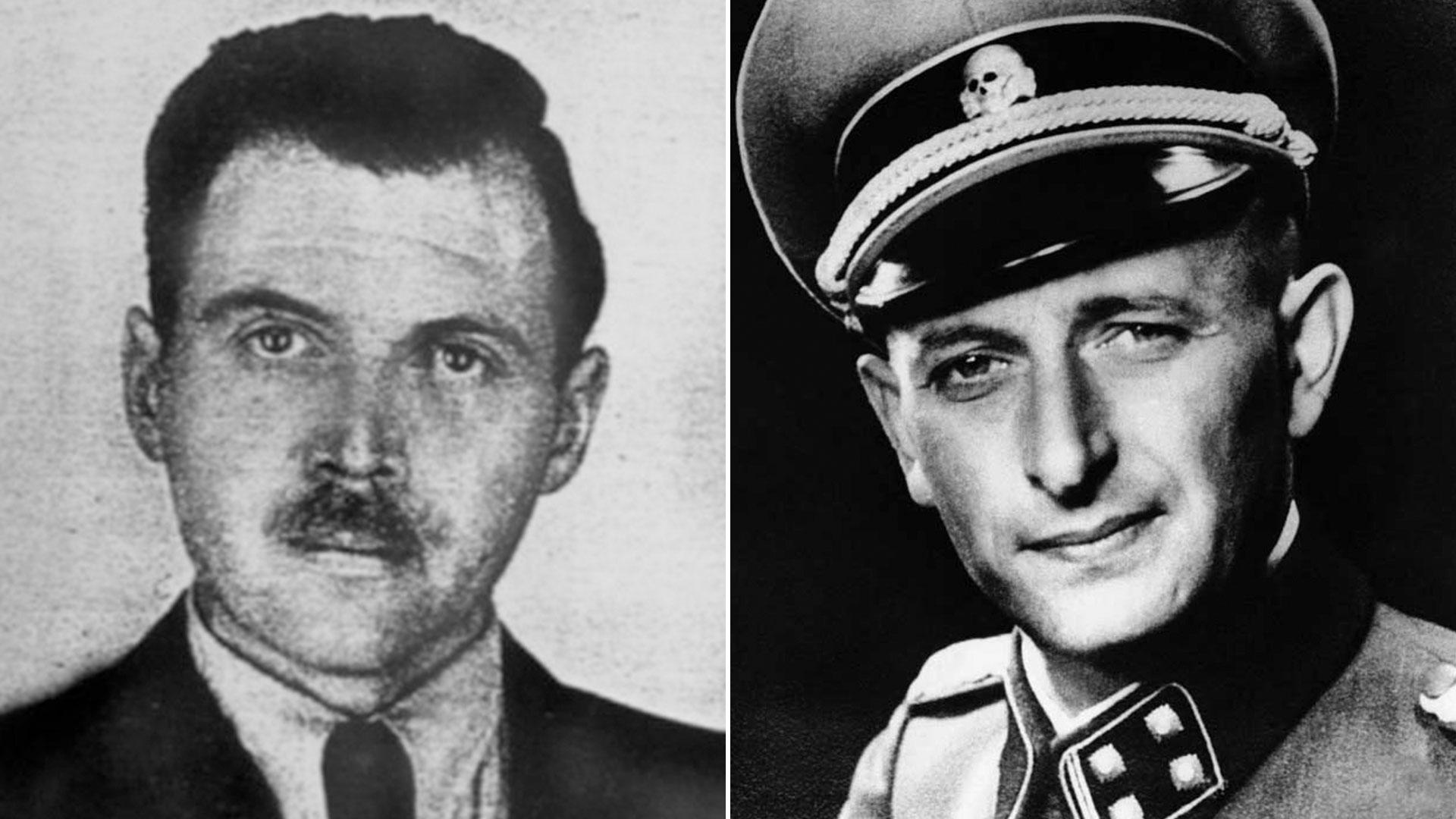 Josef Mengele y Adolf Eichmann, dos de los criminales nazis más notorios que hallaron refugio en la Argentina