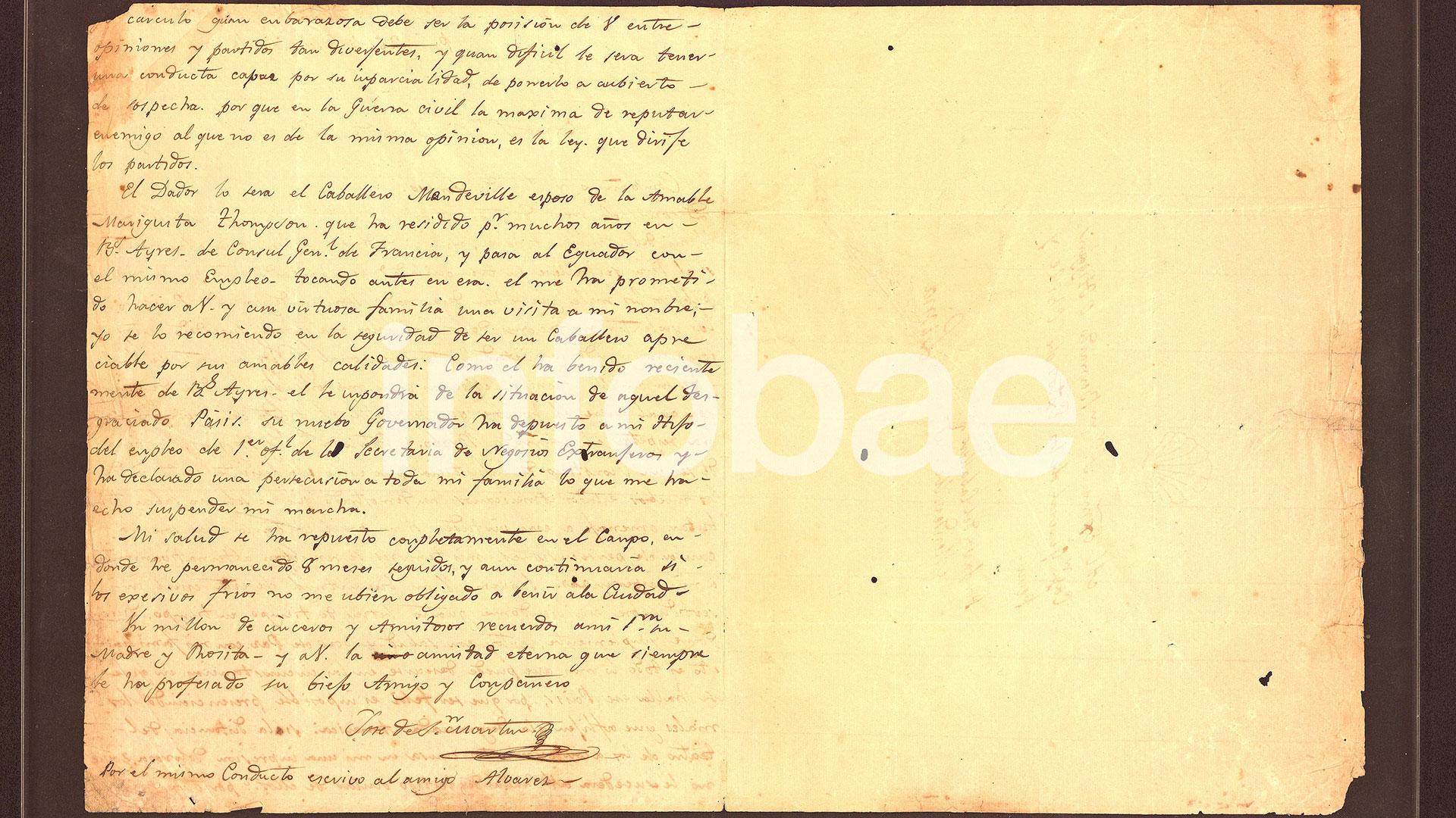 La carta de San Martín que tenía CFK