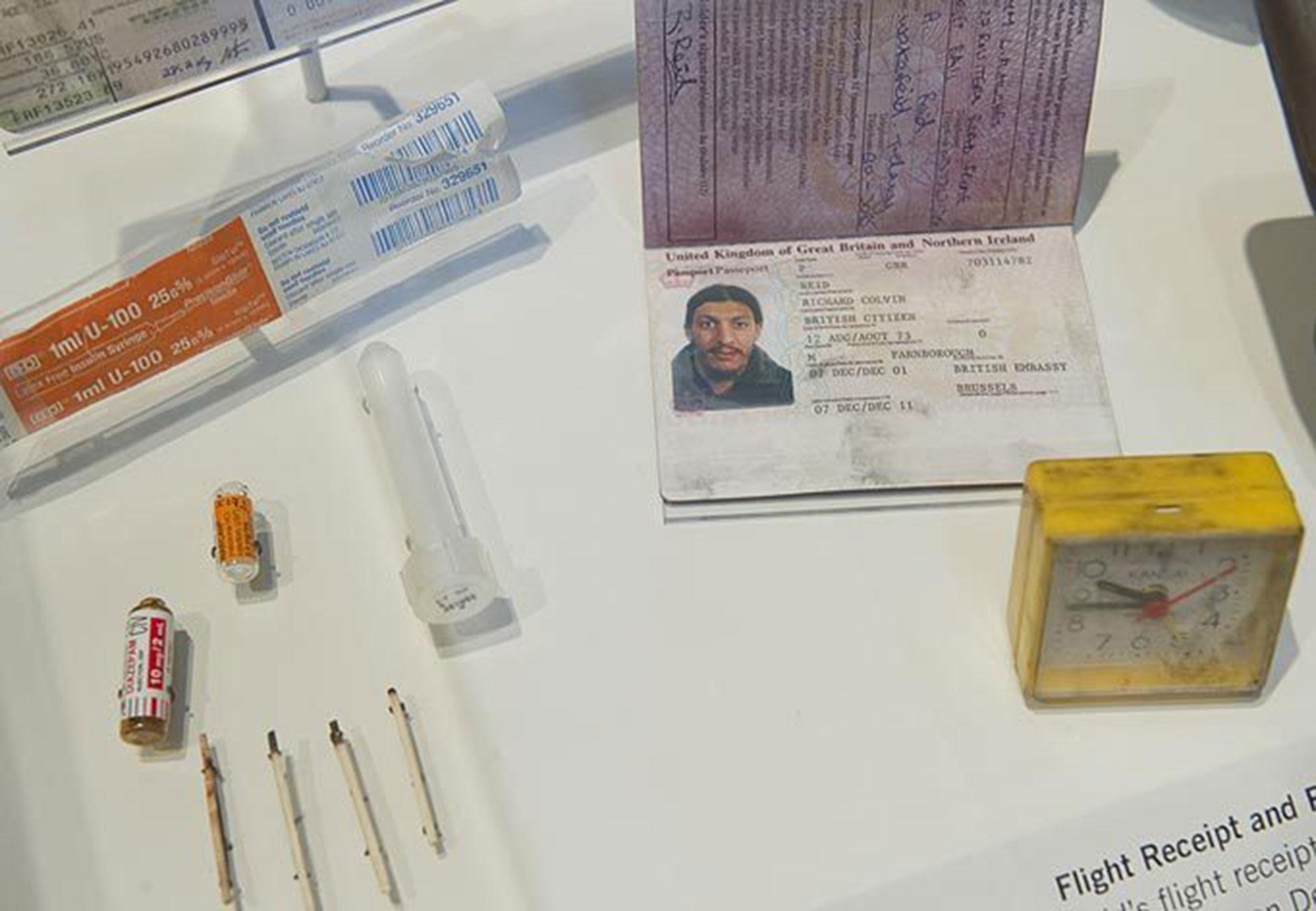 El pasaporte de Richard Reid, un terrorista de Al Qaeda que intentó, sin éxito, realizar otro ataque el 22 de septiembre de 2001