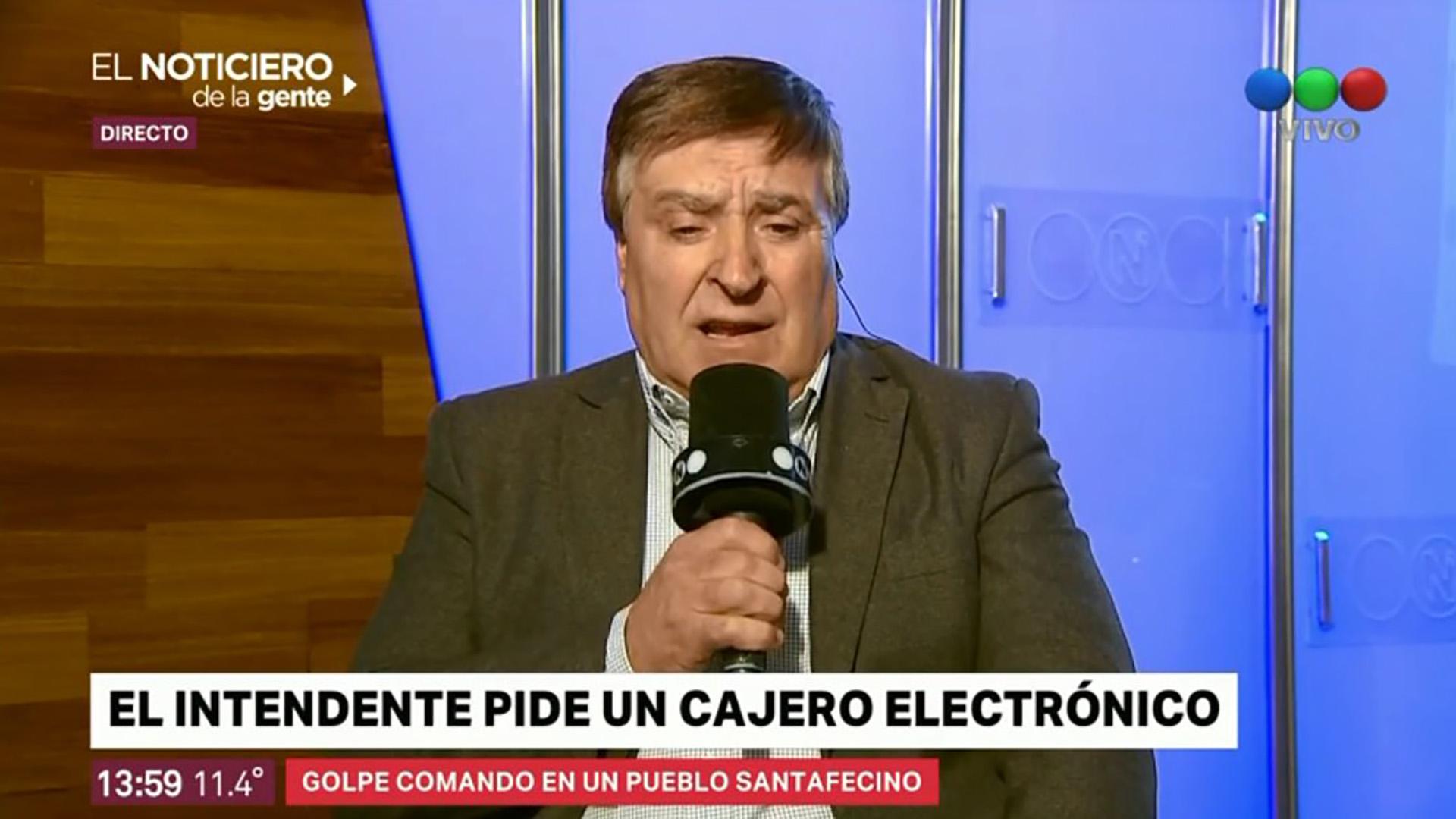 Daniel Sagardía, jefe comunal, entrevistado por Telefé tras el robo.