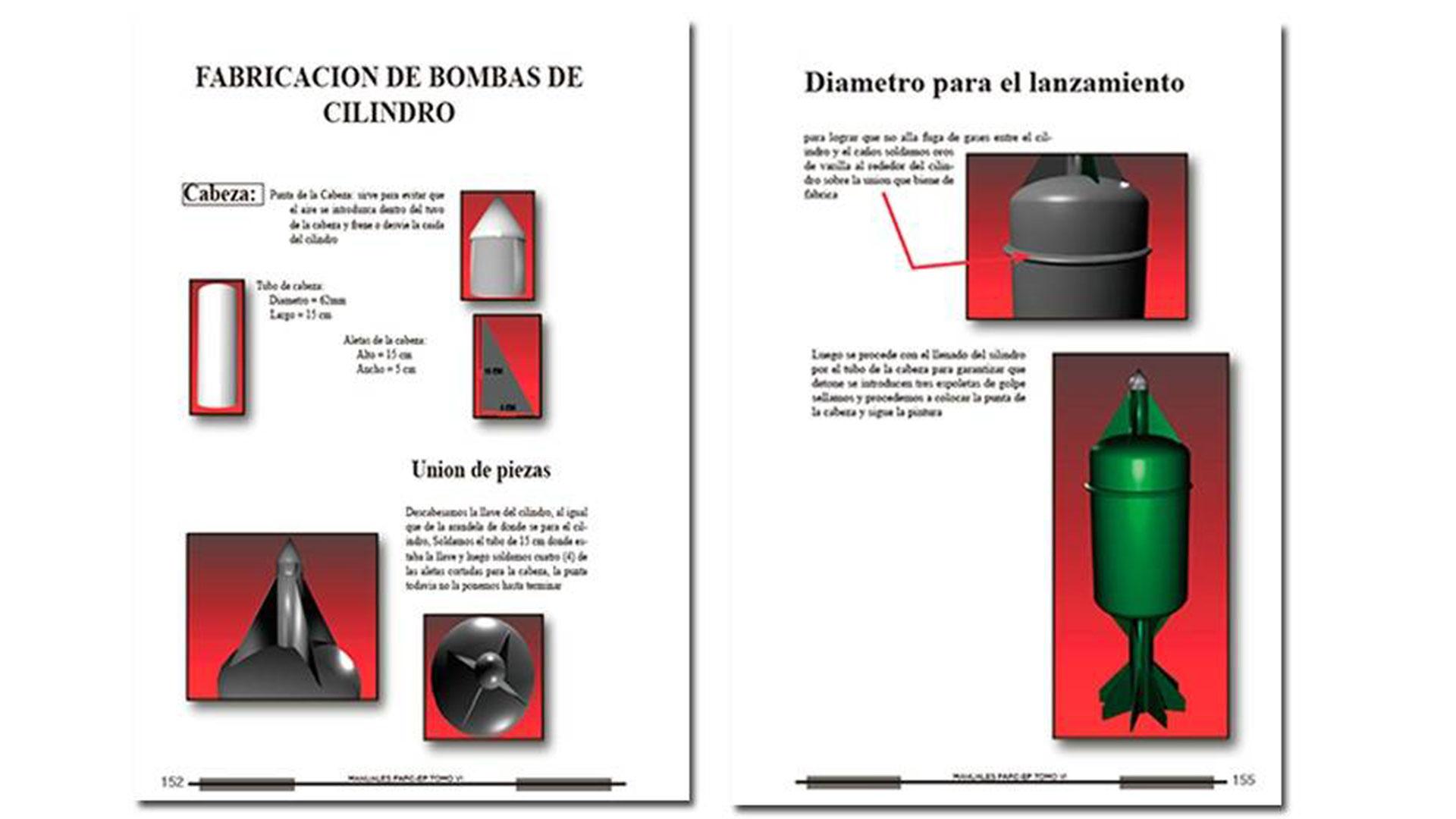 Instrucciones para fabricar cilindros explosivos (Foto Semana).