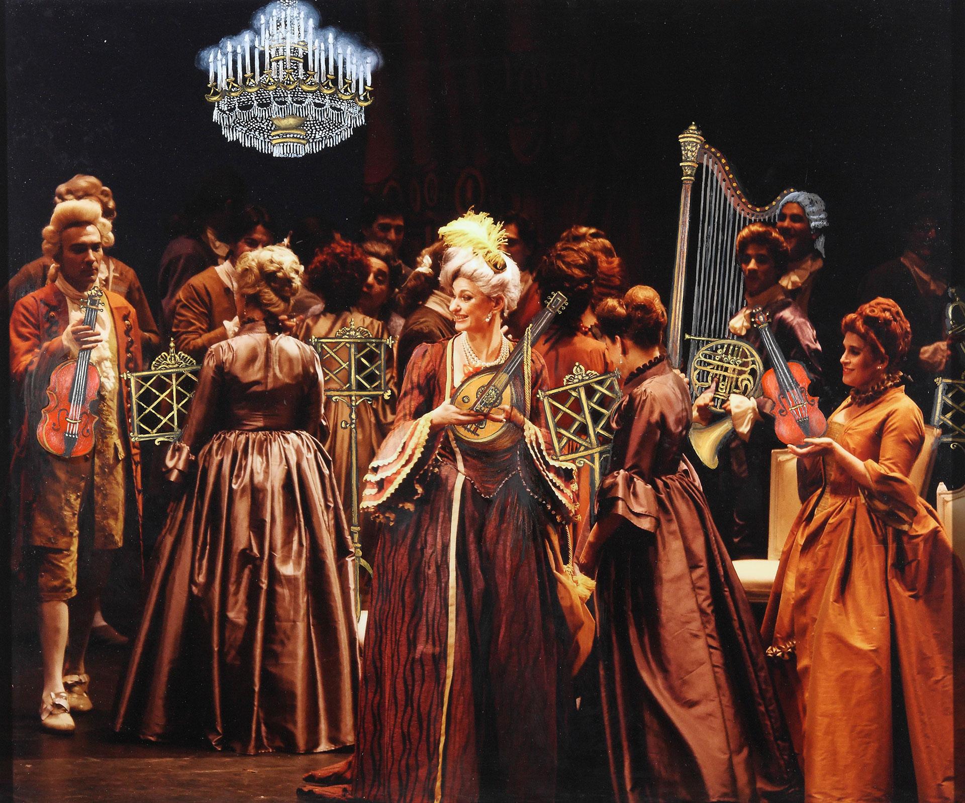 CONCIERTO BARROCO: Preparando los instrumentos y los atriles para un pequeño concierto enel palacio de la Condesa