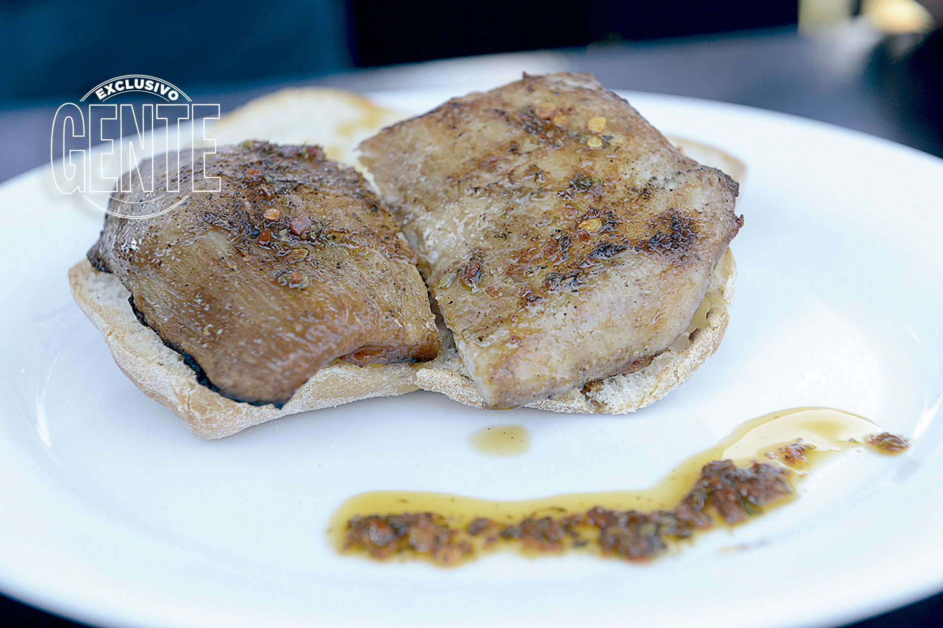 Restaurante Oviedo. Churrasquito de cerdo en ciabatta.