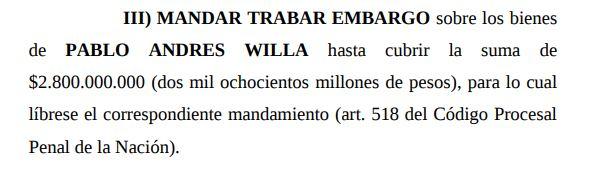 Embargo sideral: 2800 millones de pesos.
