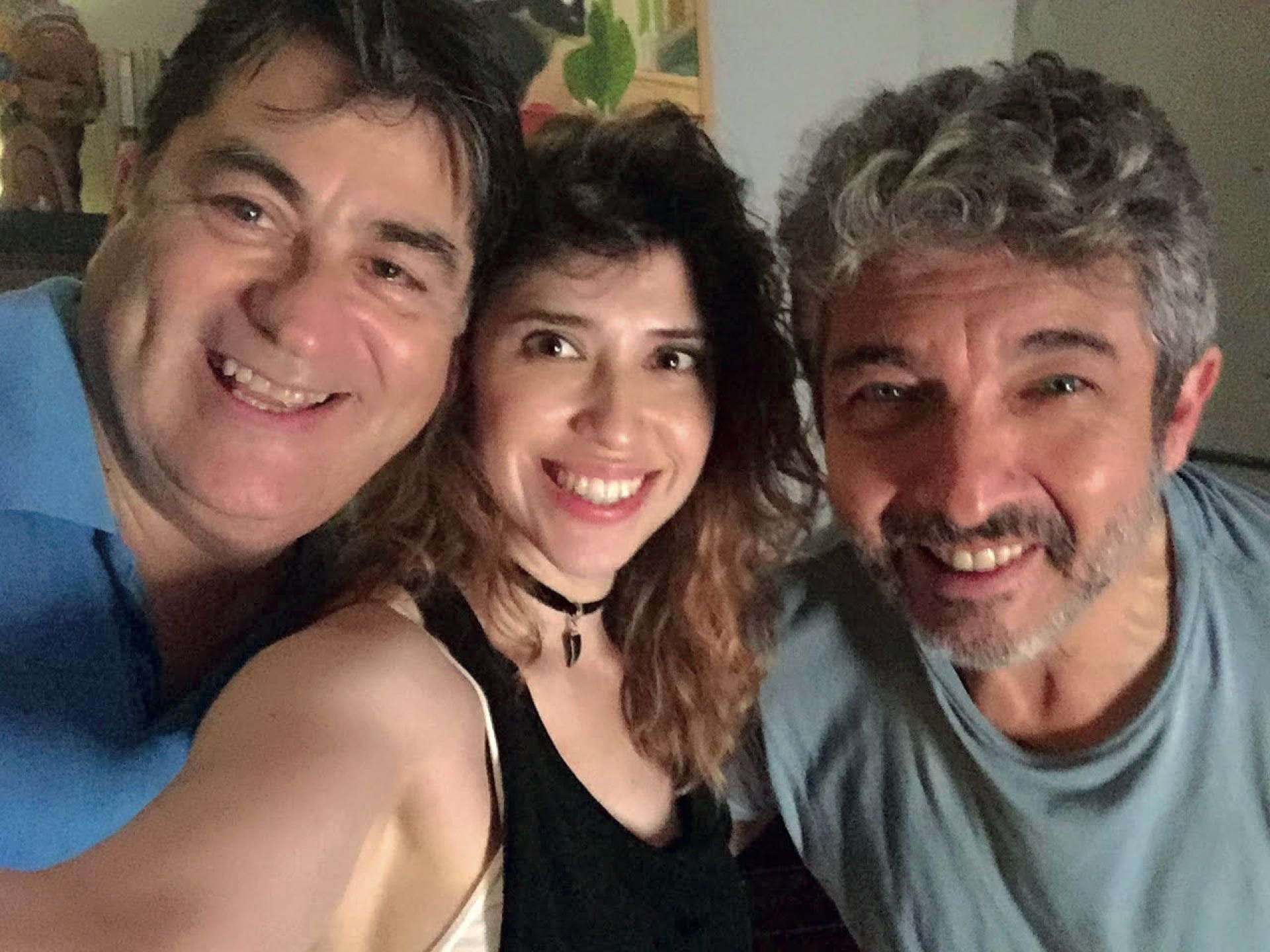 Selfie en plenorodaje con el director deEl amor menos pensado,Juan vera, y Ricardo Darín.