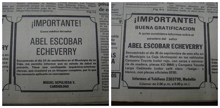 Clasificados de periódico publicados por Pablo Escobar donde ofrecía dinero a cambio de información sobre el paradero de su padre secuestrado