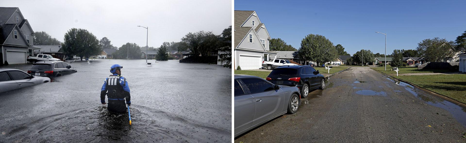 Esta combinación de fotografías muestra a un miembro del equipo urbano de búsqueda y rescate de la Fuerza Especial de Carolina del Norte en una zona inundada el 16 de septiembre de 2018, a la izquierda, y después, el 19 de septiembre, a la derecha, cuando la anegación había desaparecido tras el paso del huracán Florence en Fayetteville, en el estado. (AP Fotos/David Goldman)