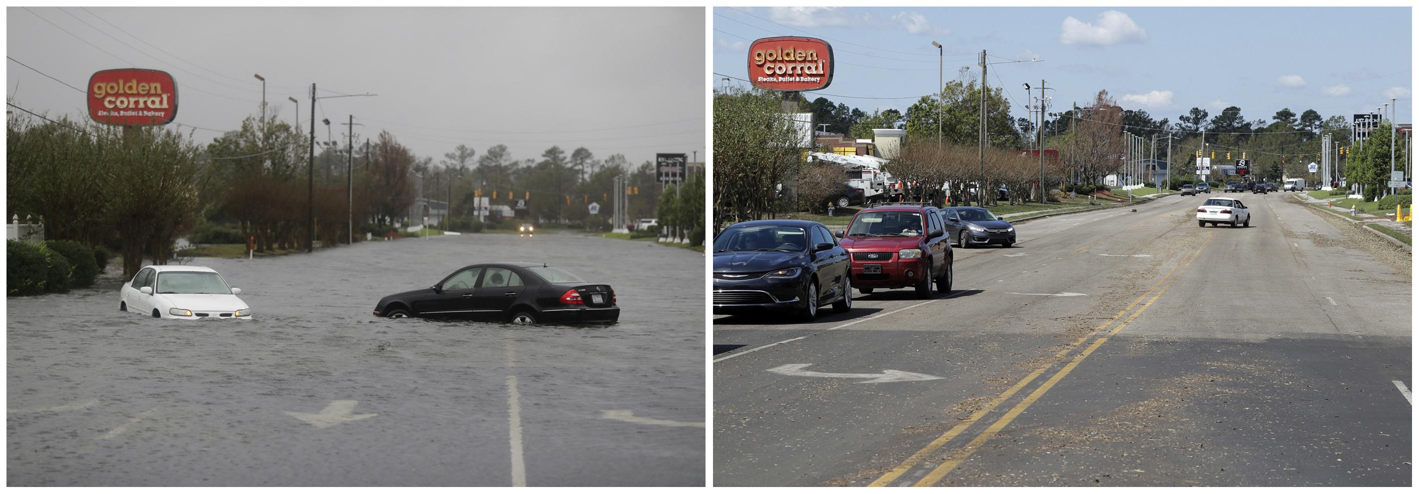 En esta combinación de fotografías, una inundación cubre una calle el 15 de septiembre de 2018, a la izquierda, y después, el 19 de septiembre, a la derecha, cuando había bajado de nivel tras el paso del huracán Florence en Wilmington, Carolina del Norte. (AP Foto/Chuck Burton)