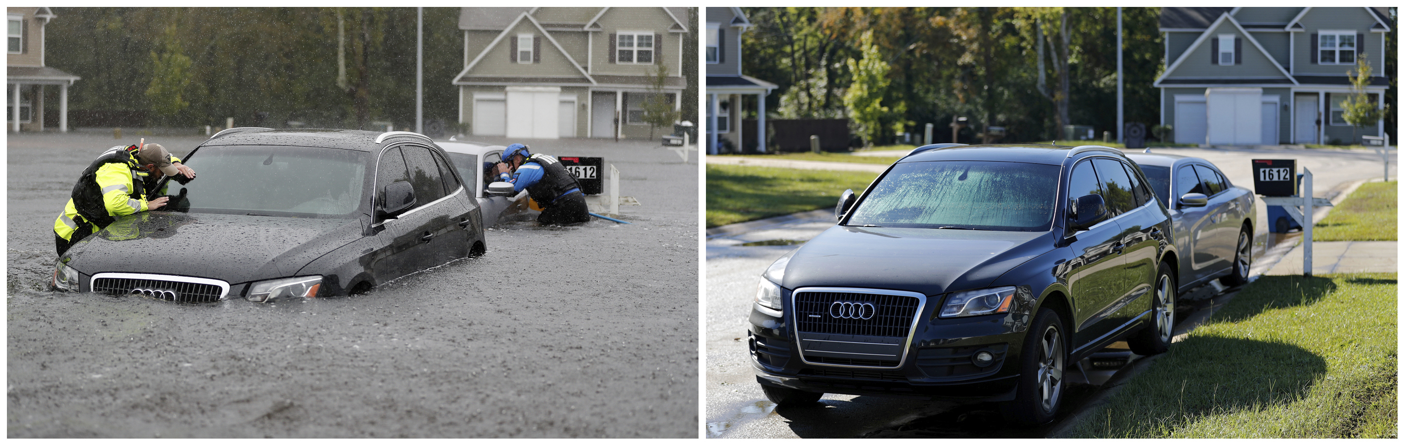 Esta combinación de fotografías muestra a un equipo urbano de búsqueda y rescate de la Fuerza especial de Carolina del Norte el 16 de septiembre de 2018, a la izquierda, y después, el 19 de septiembre, a la derecha, tras el paso del huracán Florence en Fayetteville, Carolina del Norte. (AP Foto/David Goldman)