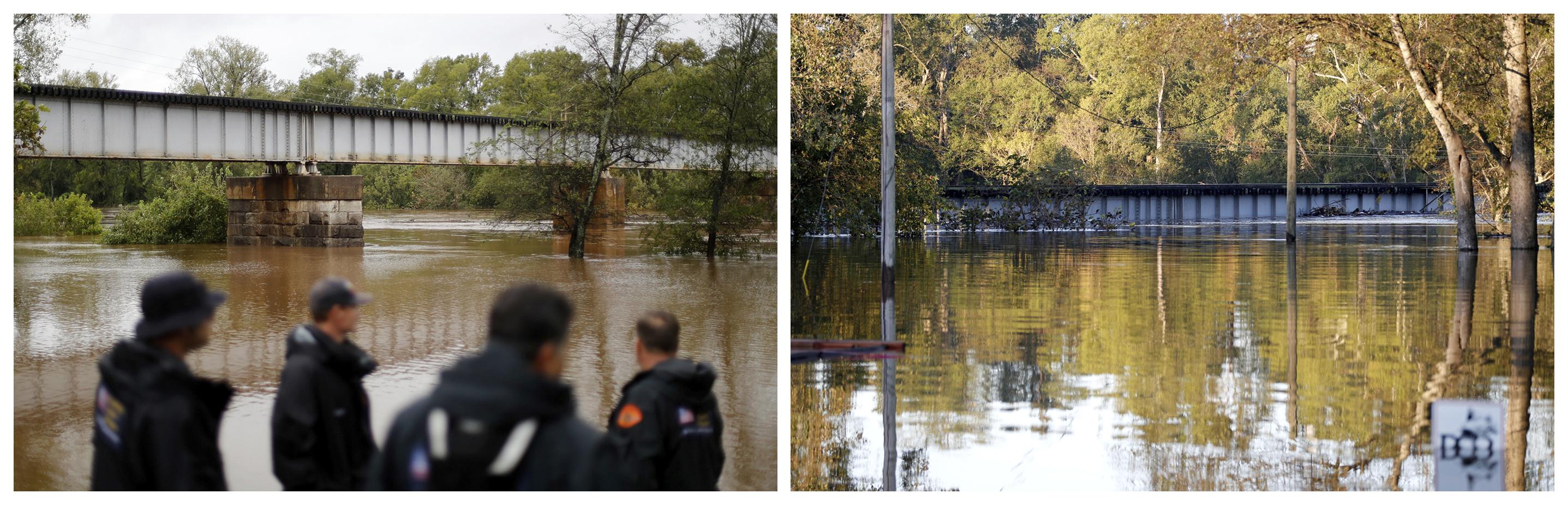 Esta combinación de fotografías muestra al río Cape Fear, el 16 de septiembre de 2018, a la izquierda, y después, el 19 de septiembre, a la derecha, cuando las aguas alcanzaron la parte inferior de un puente tras el paso del huracán Florence, en Fayetteville, Carolina del Norte. (AP Fotos/David Goldman)