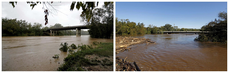 En esta combinación de fotografías, el río Cape Fear corre bajo el puente de la calle Person el 15 de septiembre de 2015, a la izquierda, y después, el 19 de septiembre, a la derecha, tras el paso del huracán Florence en Fayetteville, Carolina del Norte. (AP Foto/David Goldman)