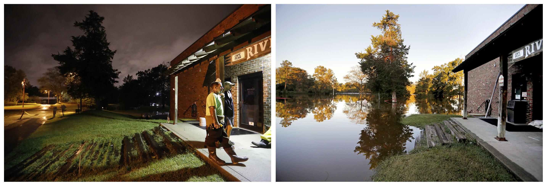 Esta combinación de fotografías muestra el río Cape Fear al fondo, detrás de una tienda de cebos y aparejos, el 16 de septiembre de 2018, a la izquierda, y después el 19 de septiembre, a la derecha, con zonas inundadas, tras el paso del huracán Florence, en Fayetteville, Carolina del Norte. (AP Foto/David Goldman)