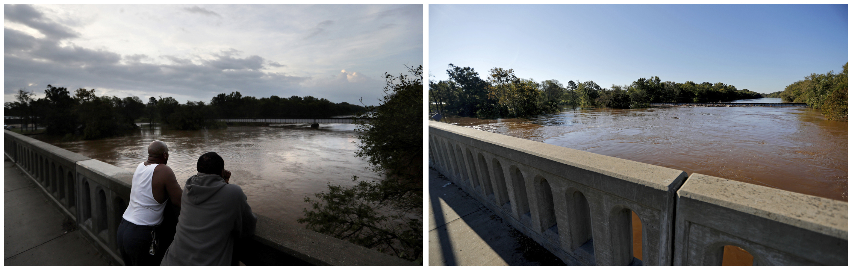 Esta combinación de fotografías muestra el río Cape Fear el 17 de septiembre de 2018, a la izquierda, y después del paso del huracán Florence, el 19 de septiembre, en Fayetteville, Carolina del Norte. (AP Fotos/David Goldman)