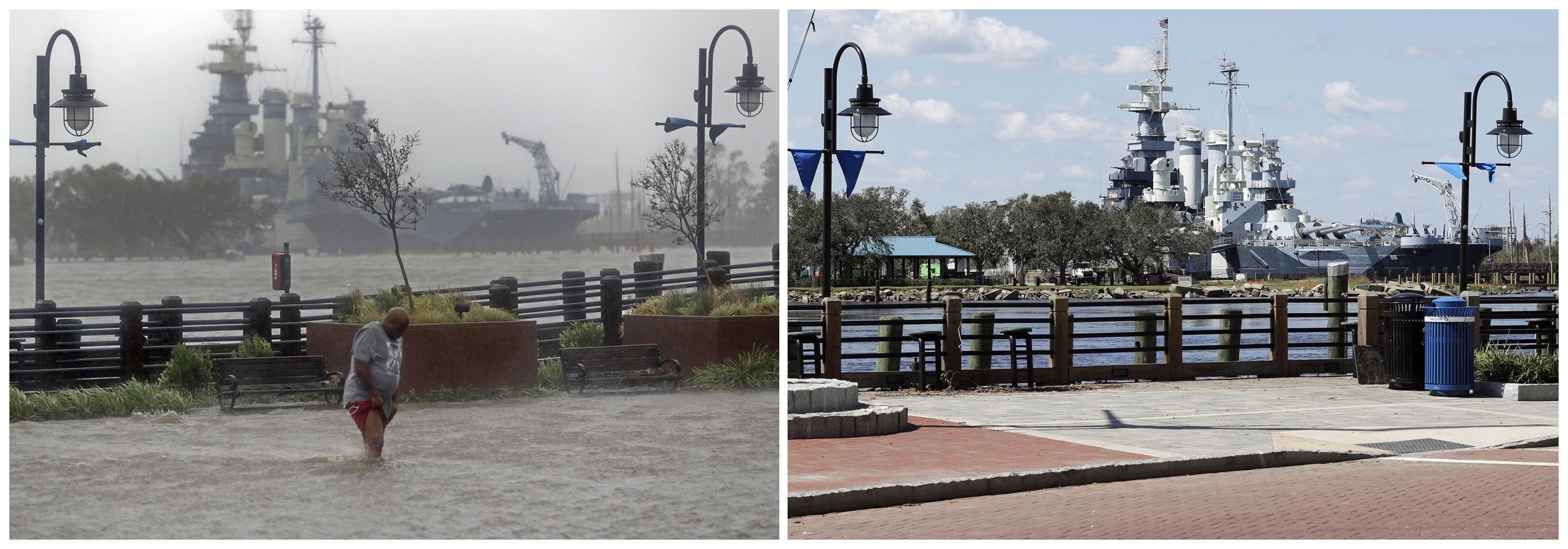 En esta combinación de fotografías, un hombre intenta cruzar una calle inundada el 14 de septiembre de 2018, a la izquierda, y el mismo lugar, el 19 de septiembre, después de que las aguas bajaran de nivel tras el paso del huracán Florence en Wilmington, Carolina del Norte. (AP Fotos/Chuck Burton)
