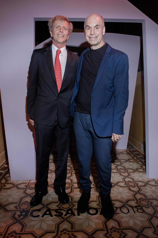 Marcos Malbran y el jefe de Gobierno porteño, Horacio Rodríguez Larreta, en el pre opening de Casa FOA 2018