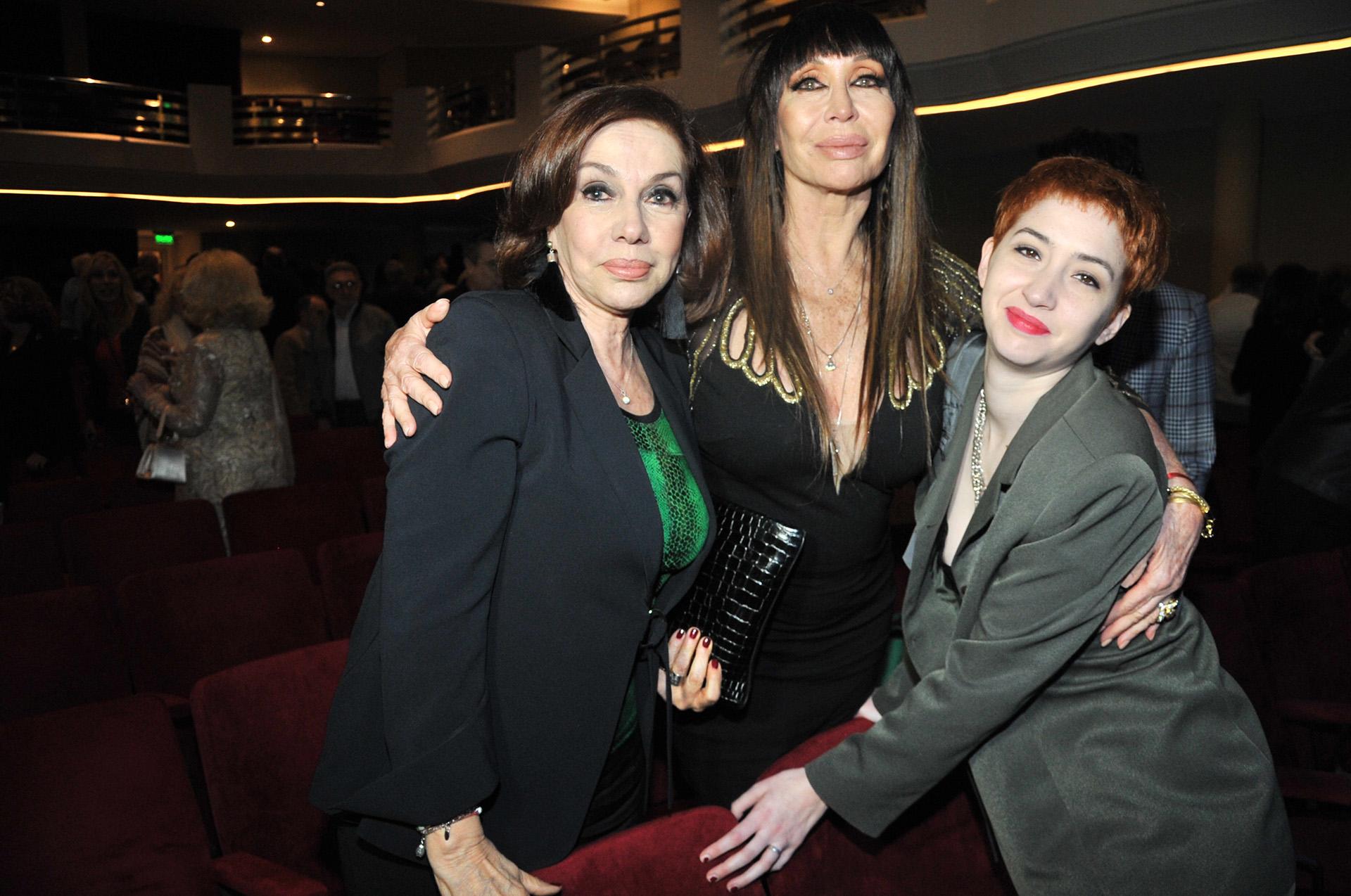 Nora Cárpena junto a Moria Casán y su hija, Sofía Gala Castiglione (Teleshow)
