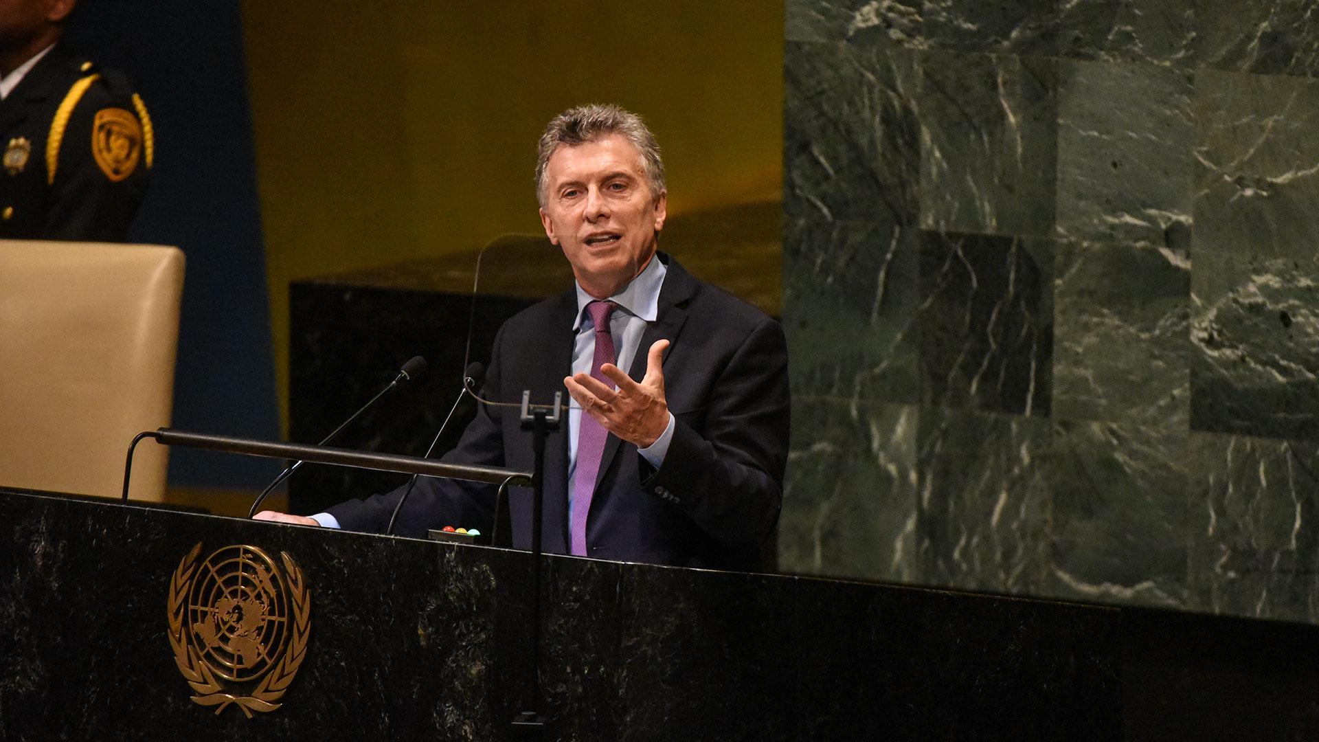 Macri denunció ante la Asamblea General de la ONU la brutalidad del régimen de Maduro (AFP)