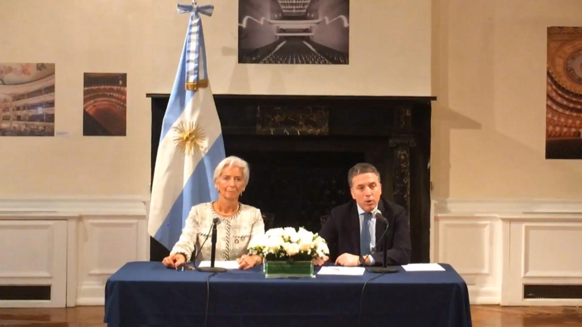 La directora ejecutiva del FMI, Christine Lagarde, y el ministro de Economía, Nicolás Dujovne