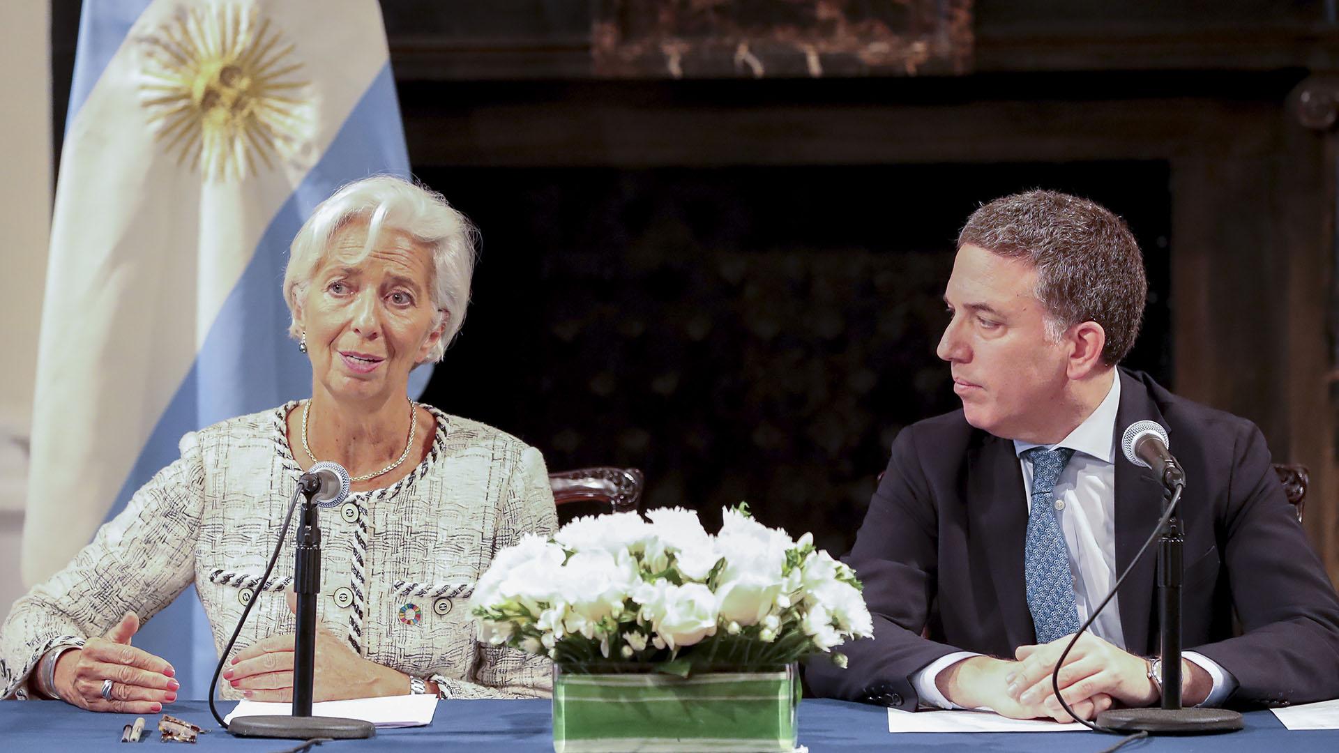 La directora Gerente del FMI Christine Lagarde y el ministro Nicolás Dujovne (NA)